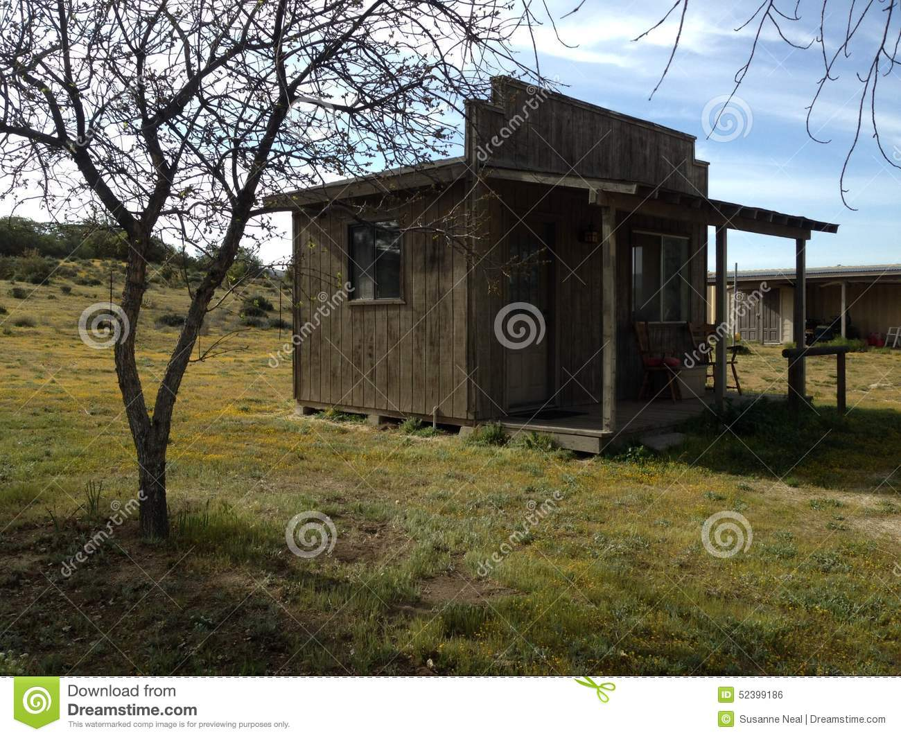 Small Wooden Shed Or Cabin In The Country Stock Photo