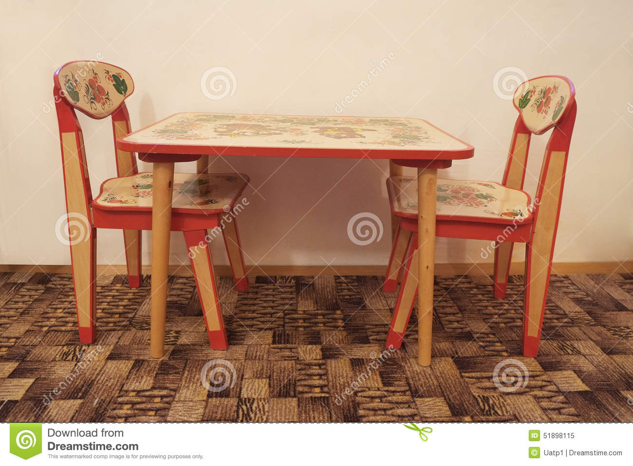 small wooden table and two chairs stock image image of isolated color 51898115. Black Bedroom Furniture Sets. Home Design Ideas