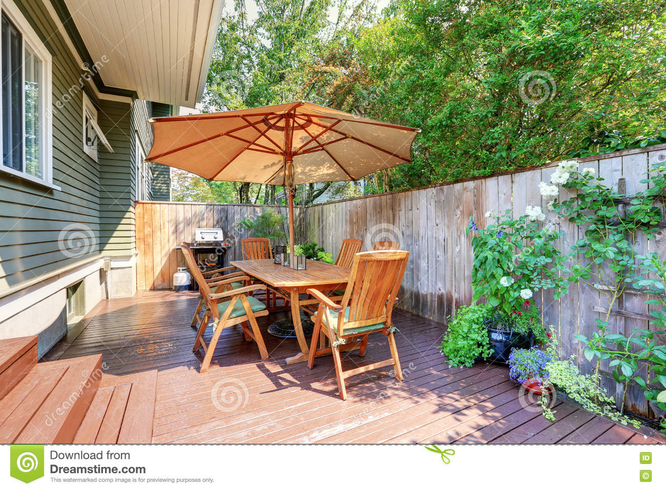 Small Wooden Walkout Deck And Patio Table Set With Umbrella