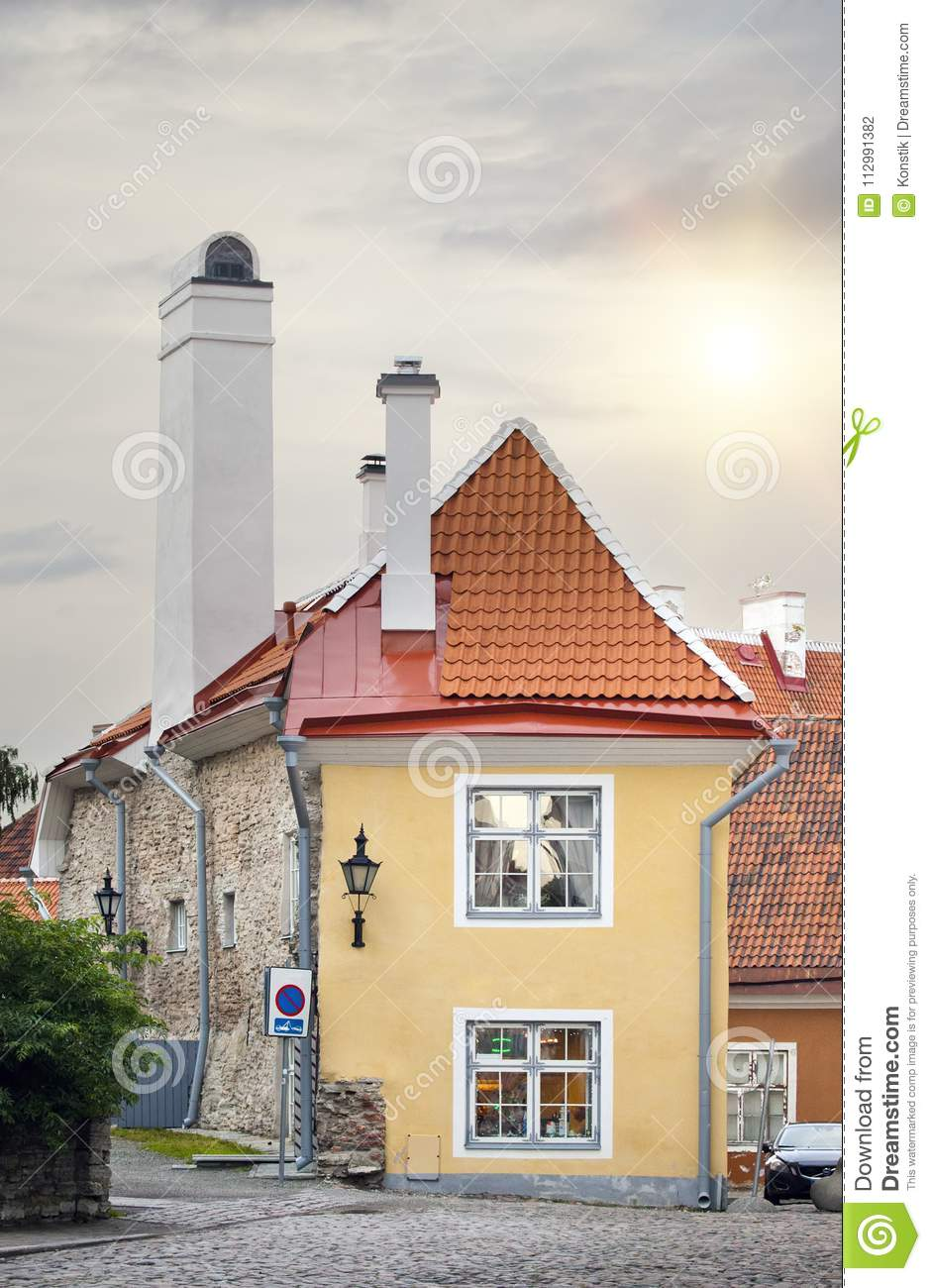 The smallest house, the house of the priest, in the medieval Old city. Tallinn. Estonia