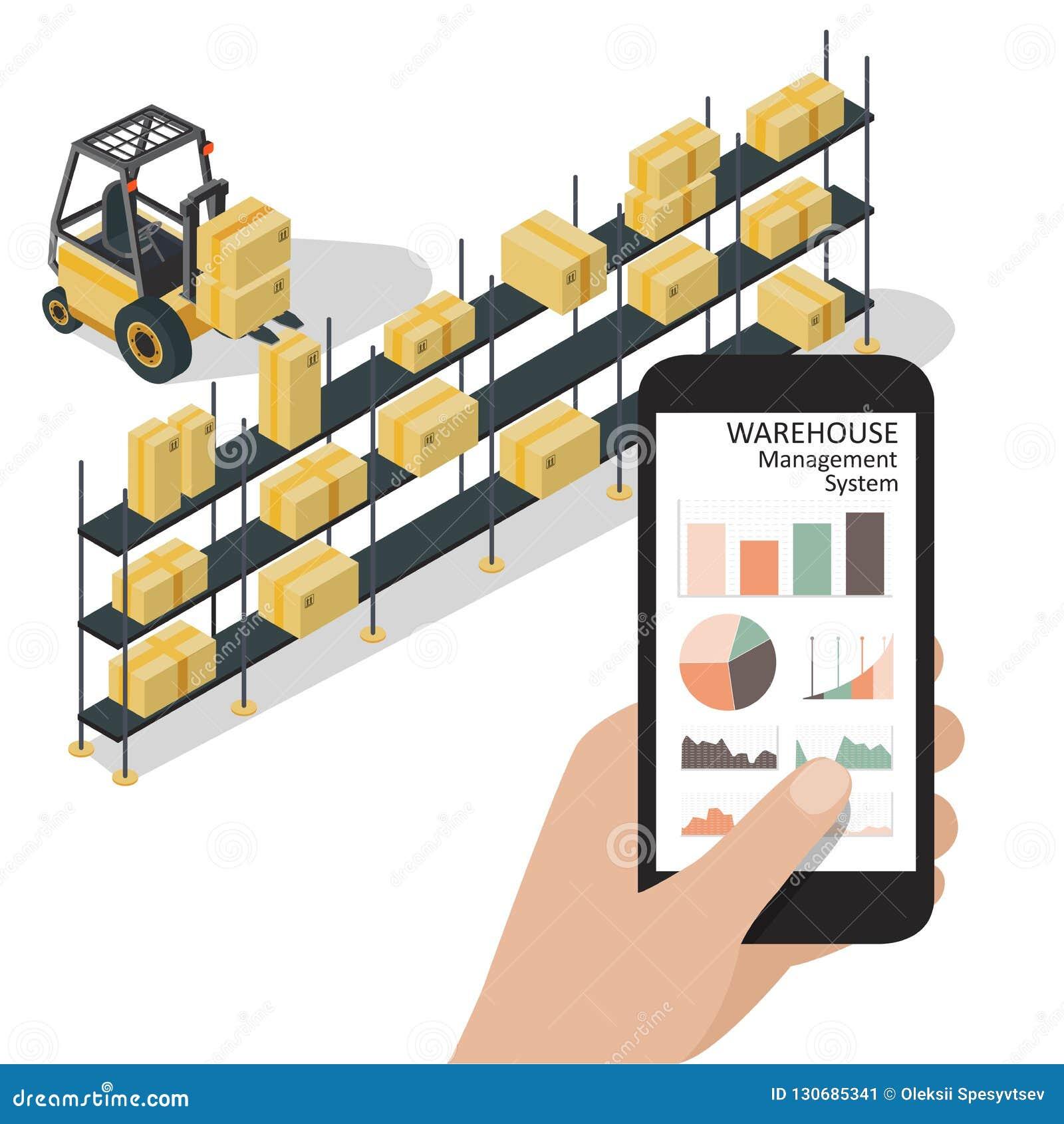 Smart app för lagerledningsystem Telefon för arbetarhandinnehav med den infographic appen för lagerkontroll Isometrisk vektor
