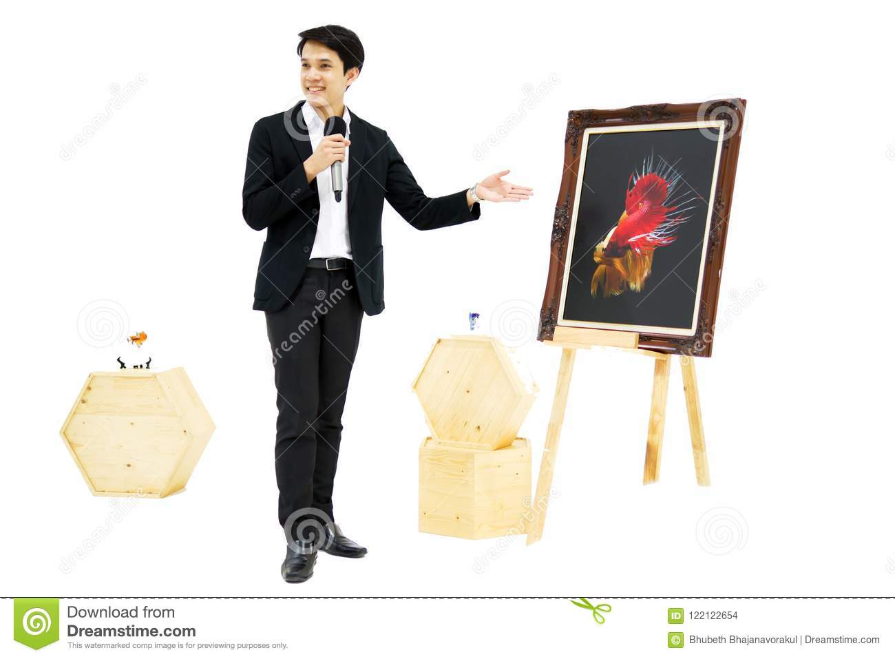 Smart Asian men is presenting the beautiful siamese fighting fish (betta) photo in the museum exhibition.