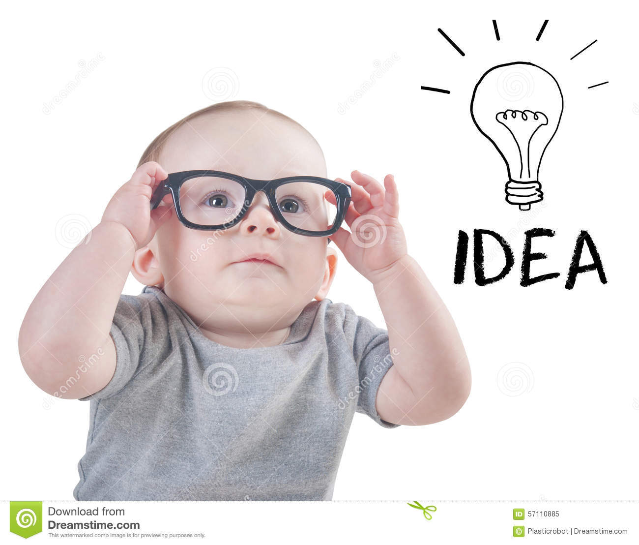 Smart Baby With Glasses Has An Idea Stock Photo - Image: 57110885