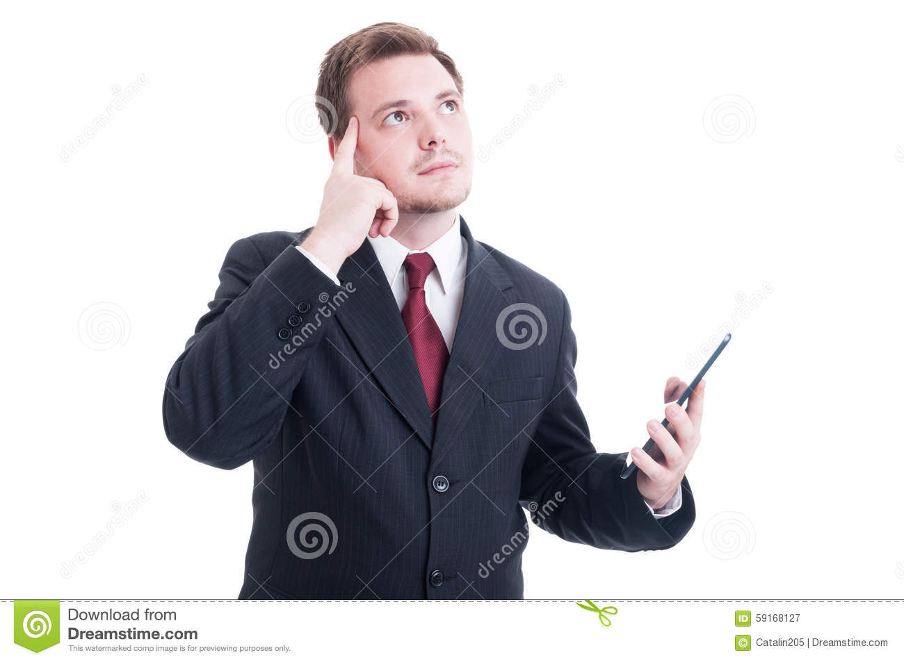 smart worker wondering royalty stock image image  smart banker holding tablet and thinking royalty stock photography