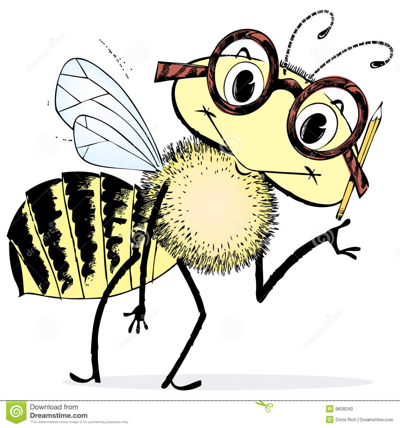 Smart Bee Cartoon Stock Photo Image 9608240