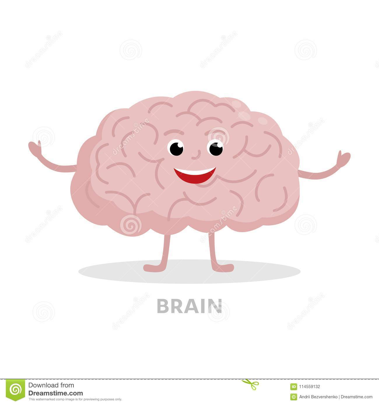 Smart brain cartoon character isolated on white background. Brain icon vector flat design. Healthy strong organ concept