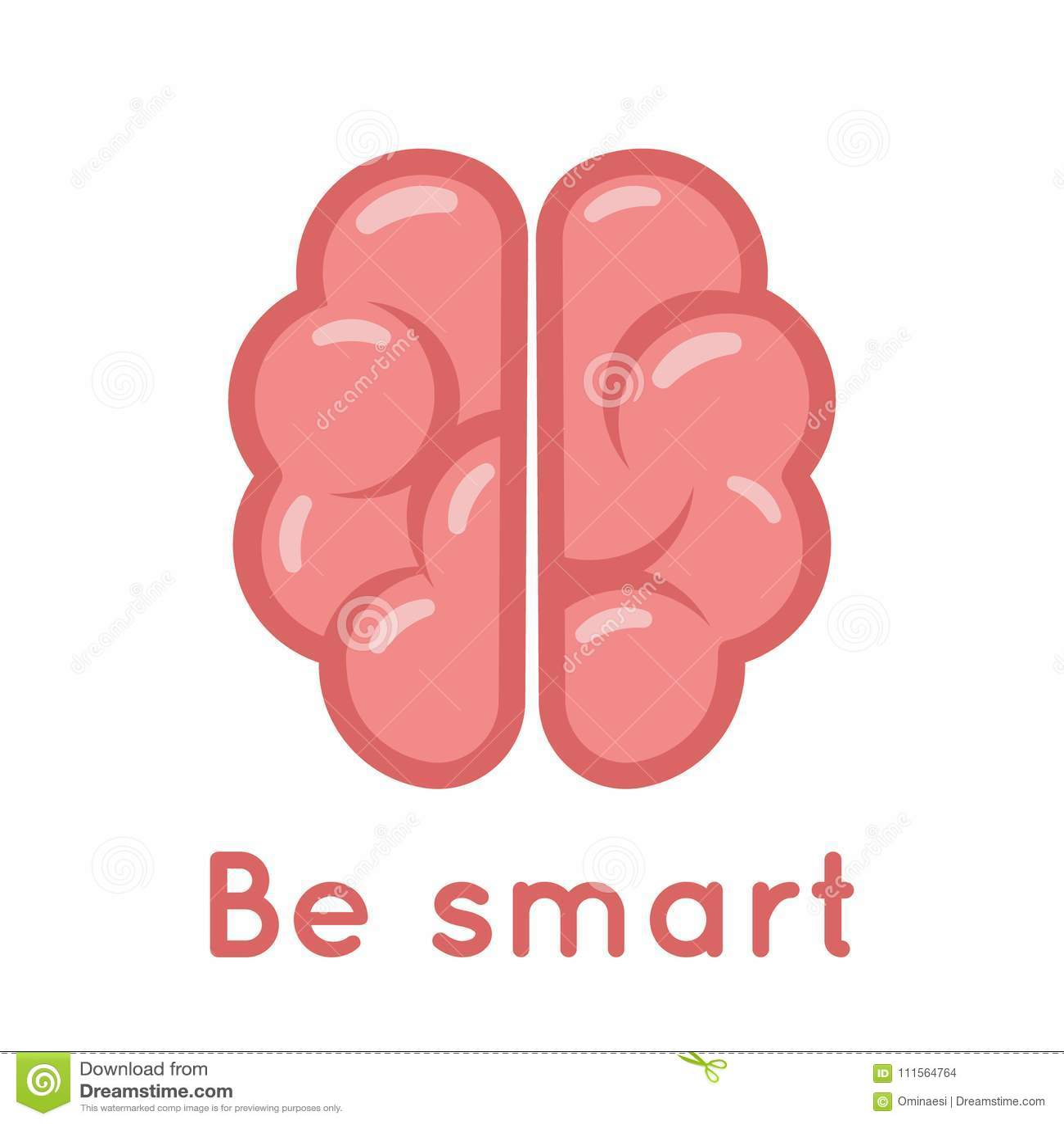 Smart Brain Logo Symbol Education Scientific Idea Solution Flat Design Vector Illustration
