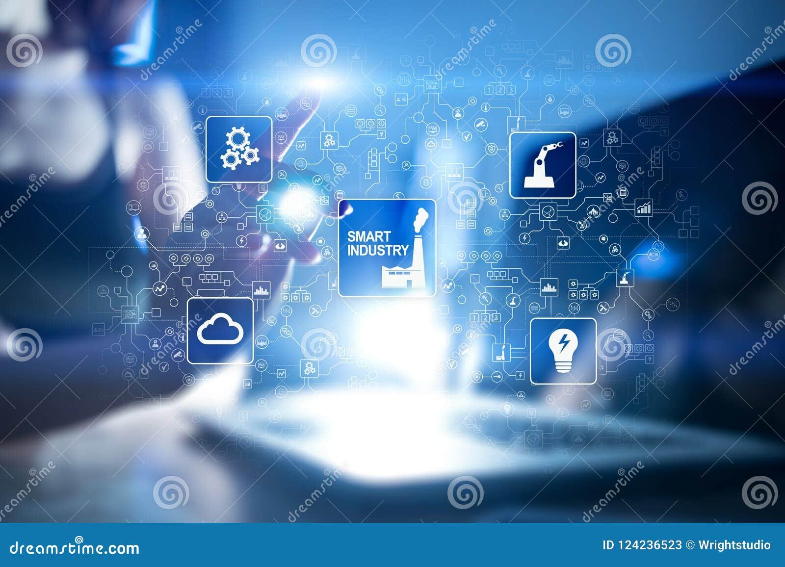 Smart bransch Industriell och teknologiinnovation Modernisering- och automationbegrepp Internet IOT