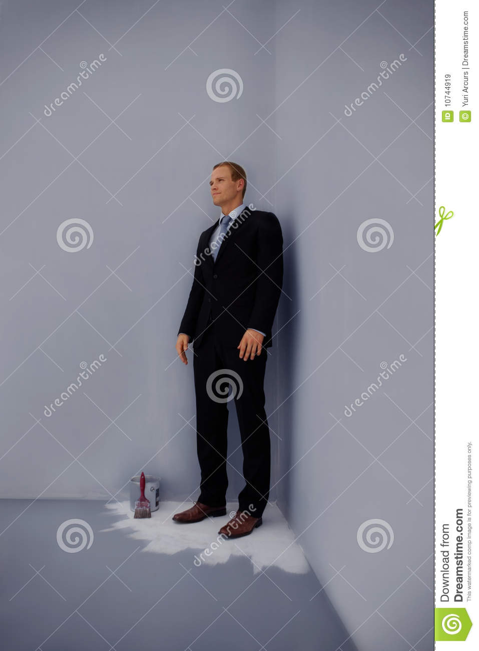 Smart Business Man Standing Trapped At The Corner Stock