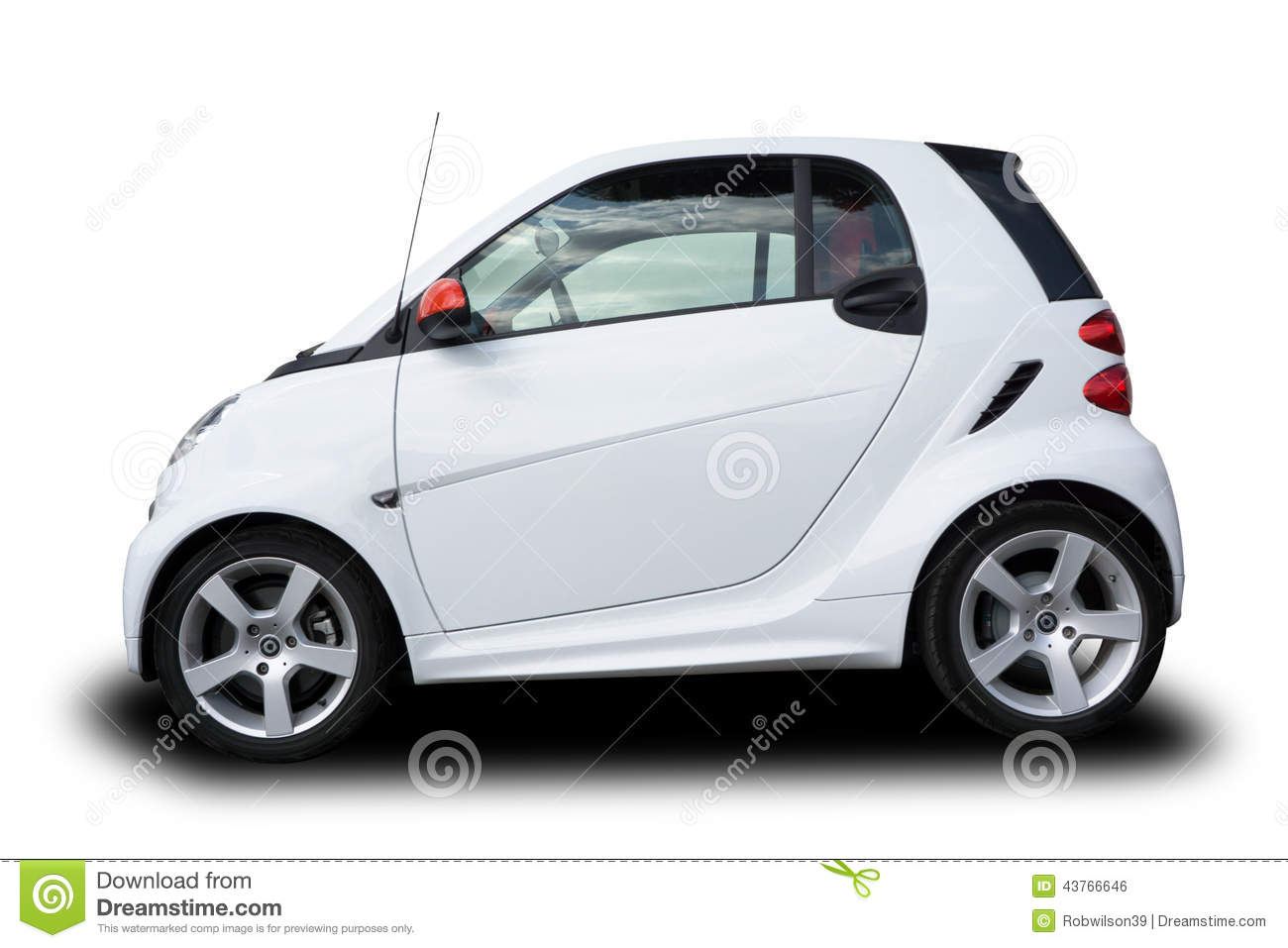 White Smart Car Side View