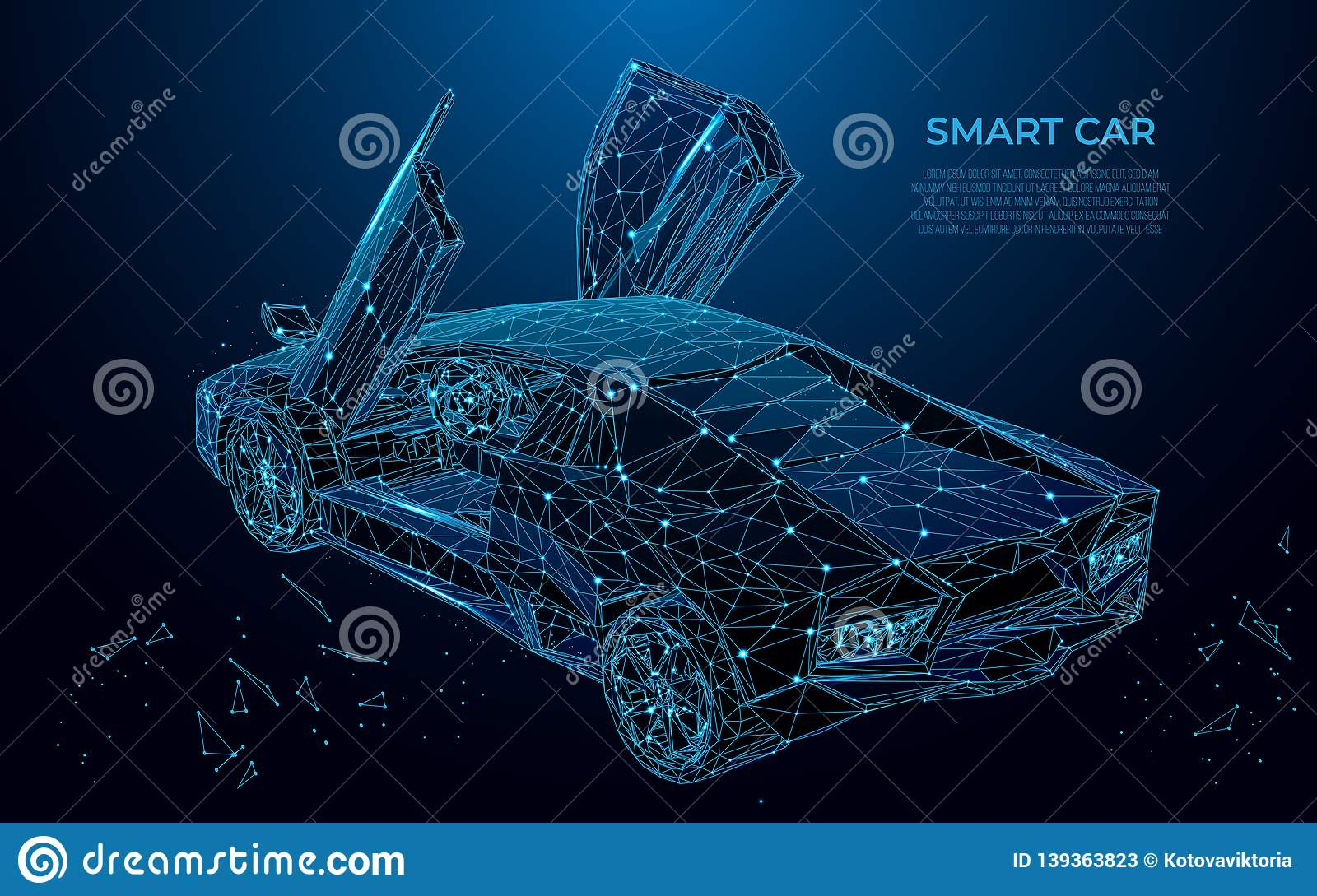 Smart Car. Sport car in the form of a starry sky or space. Cars vector wireframe concept. Polygon vector design. Poly art
