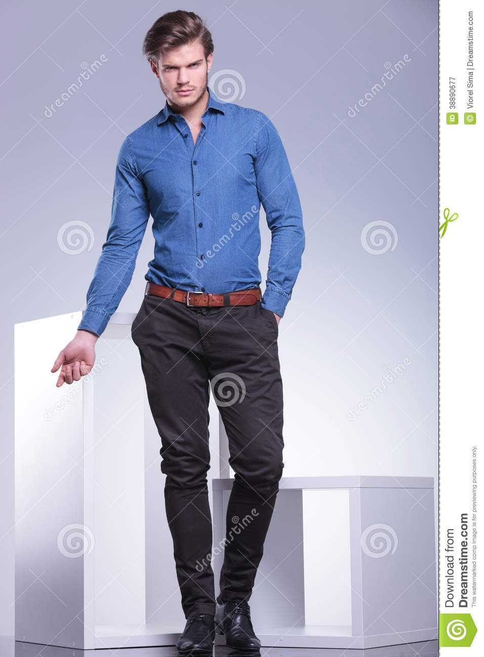 Smart Casual Dressed Man In A Fashion Pose Stock Photo