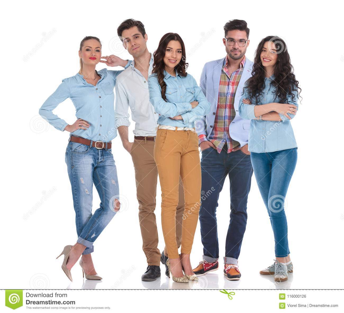 Smart Casual Group Of Five People Standing Stock Photo Image Of