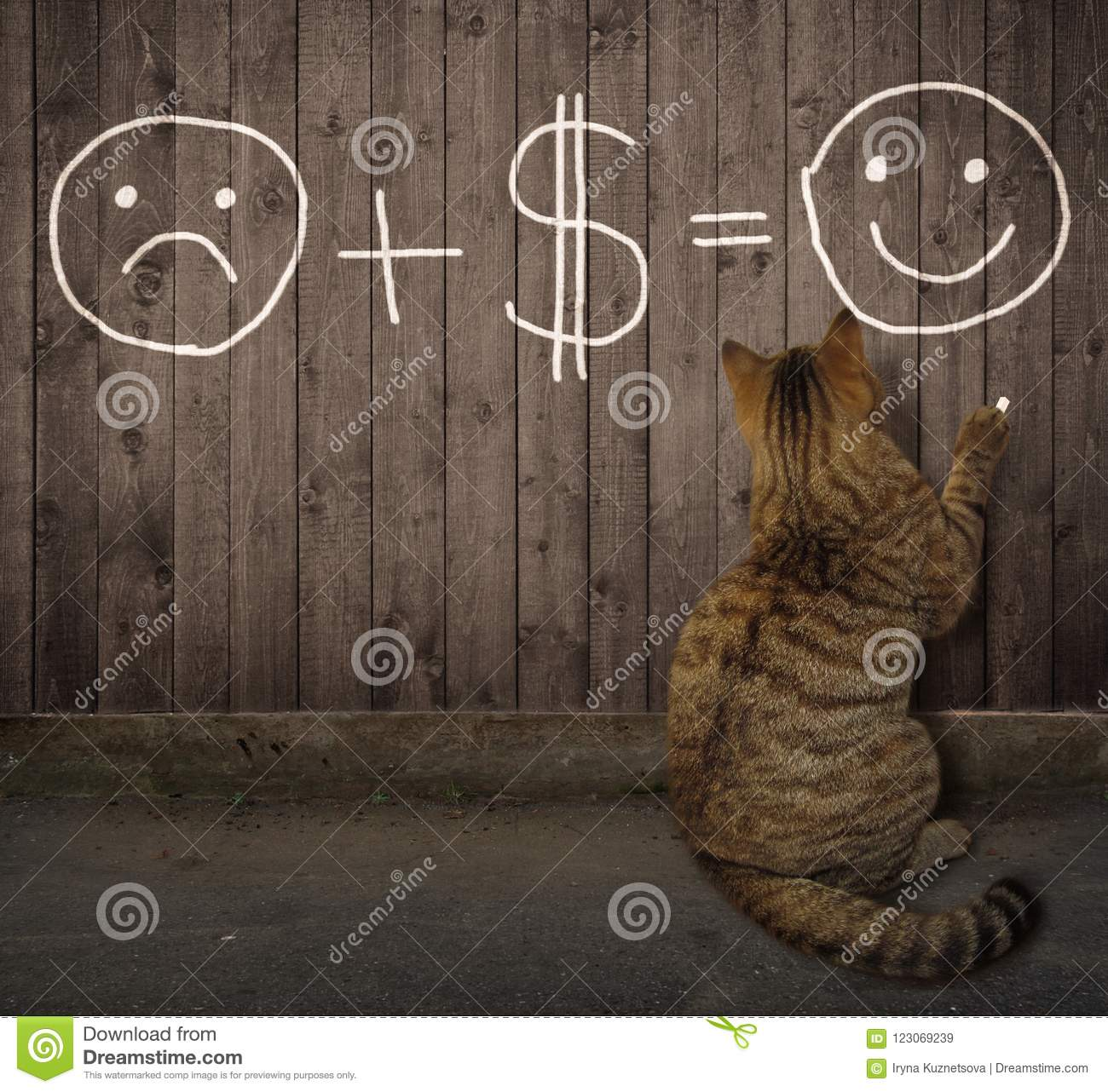 Cat writes a funny math equation on a fence