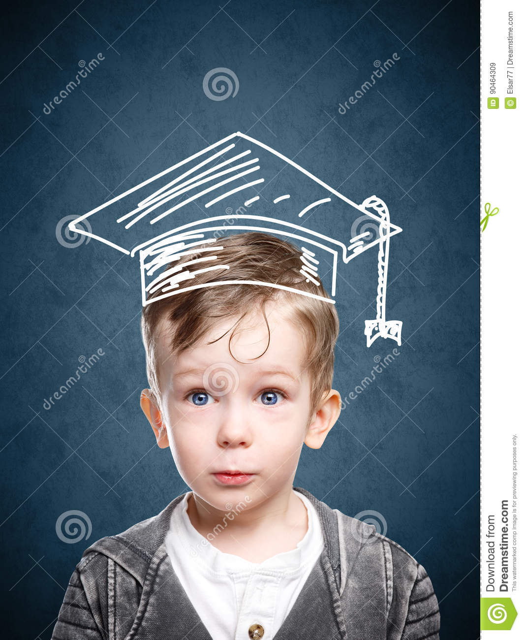 Smart child in a drawn student hat