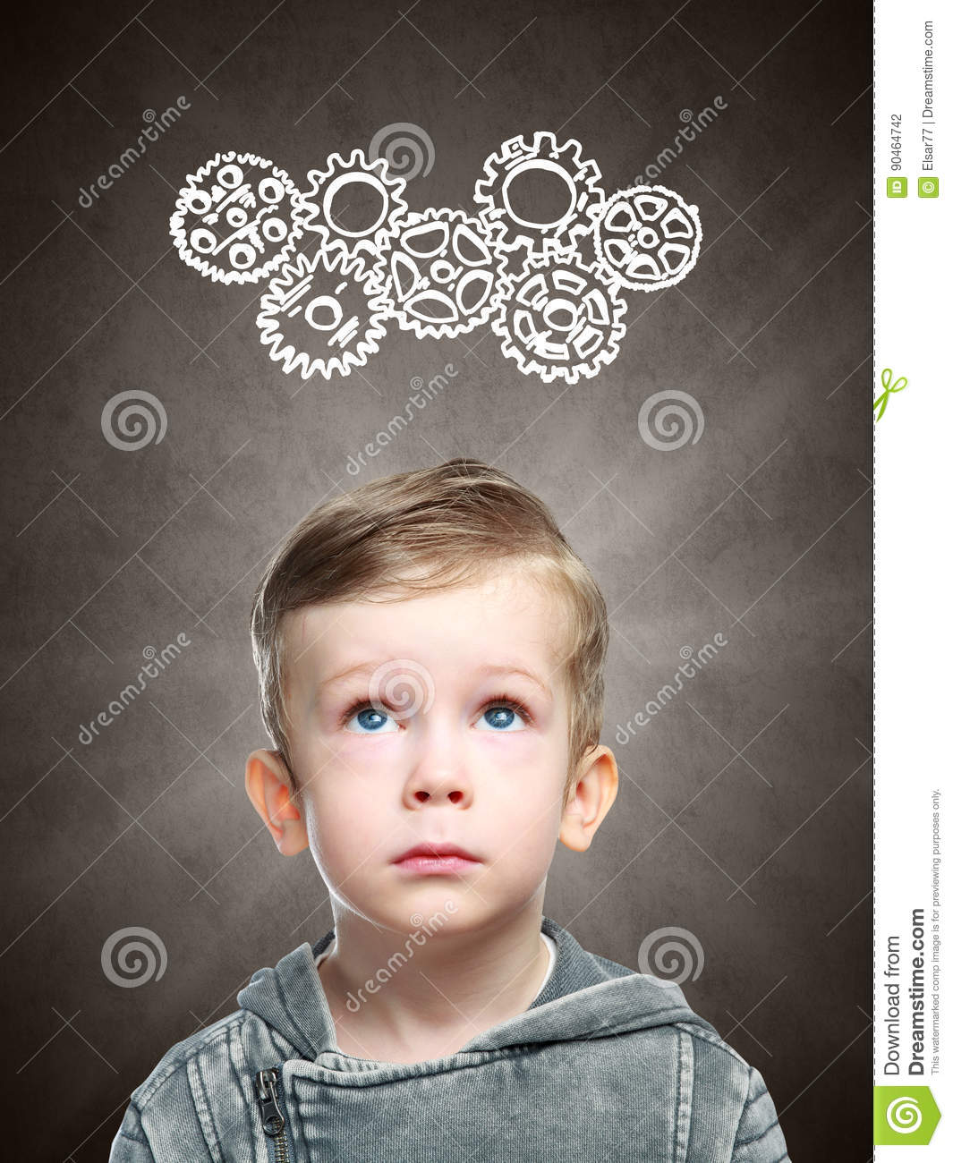 Smart child thinks of looking at gears