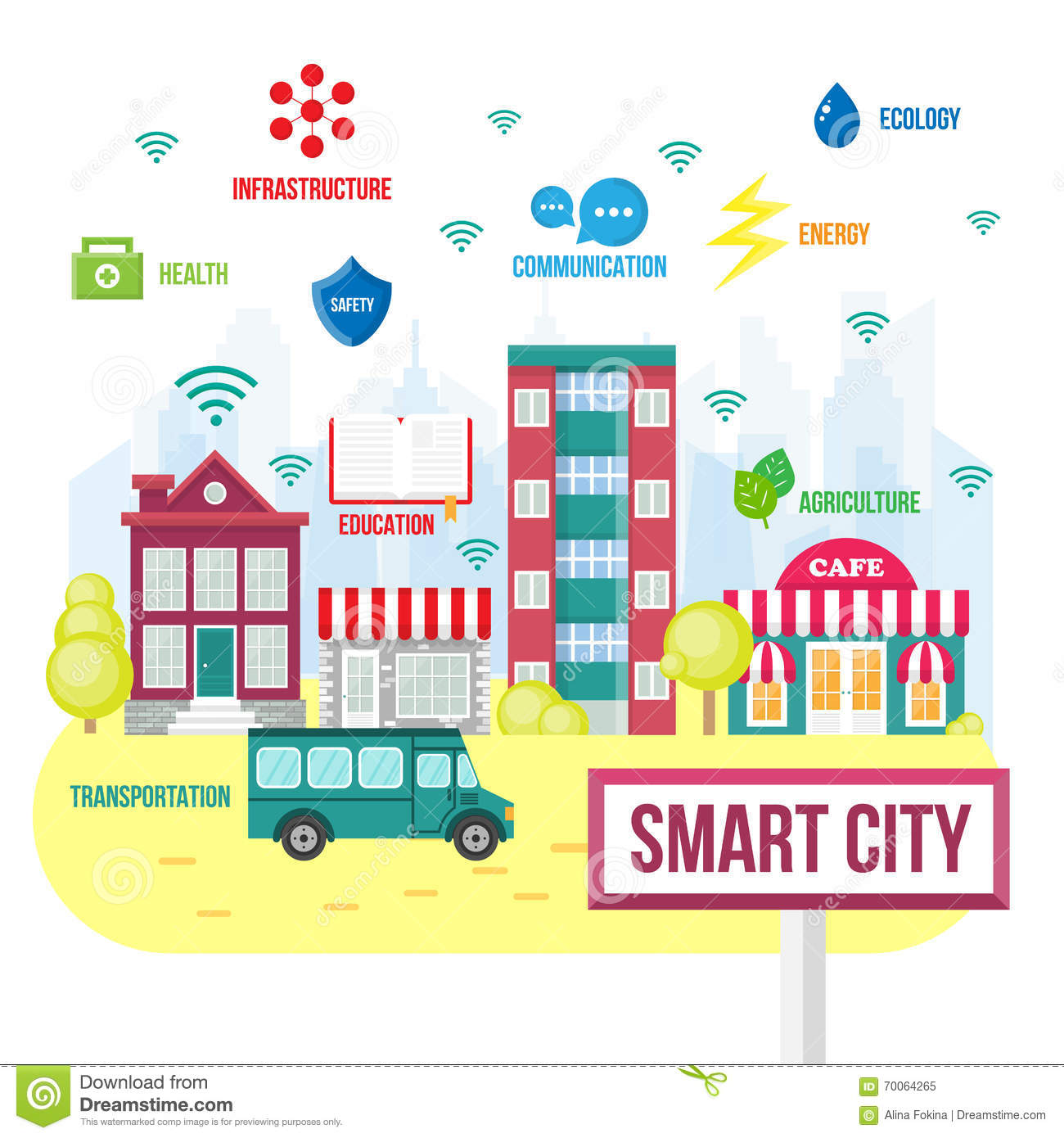 Smart city concept stock vector. Image of design ...