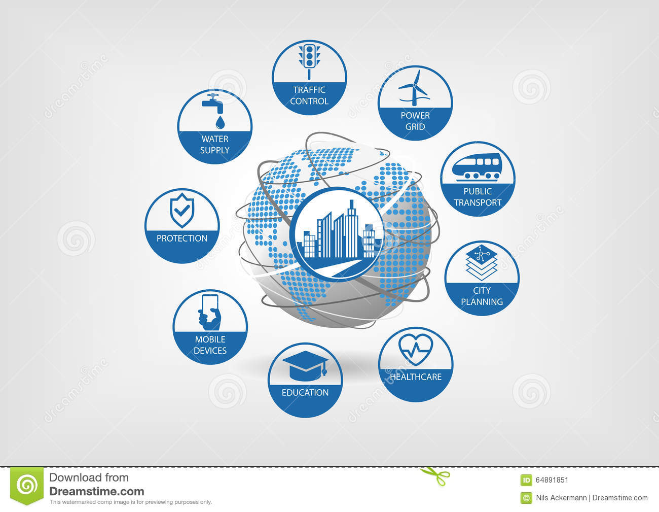 Smart city concept. Vector illustration with globe and connected objects