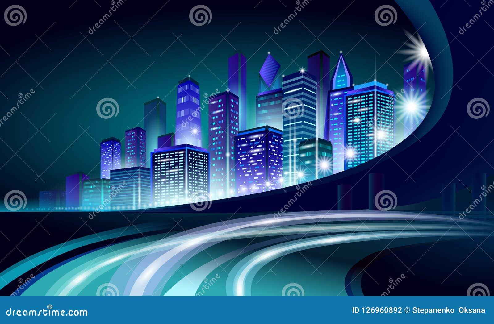 Smart city 3D neon glowing cityscape. Intelligent building automation night futuristic business concept. Web online