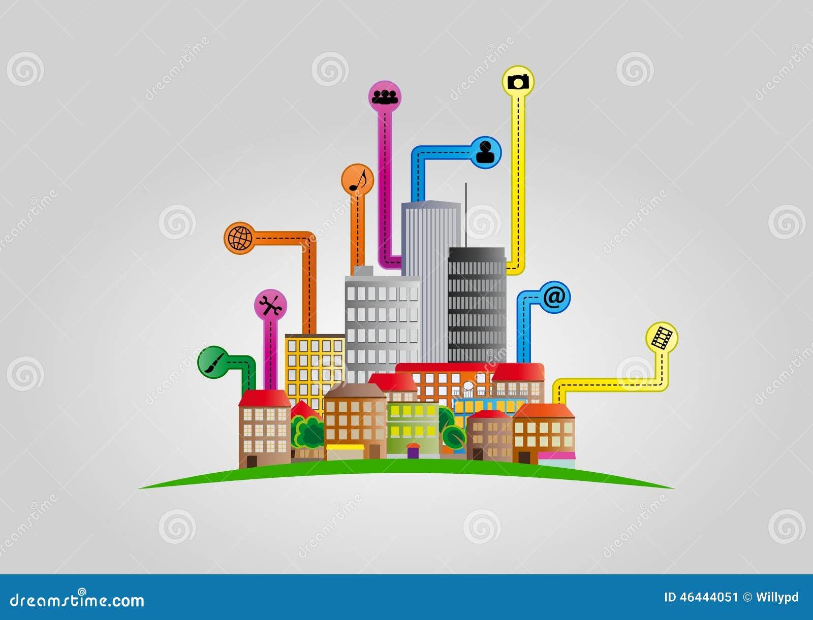 Home Network Design App Smart City Stock Vector Image 46444051