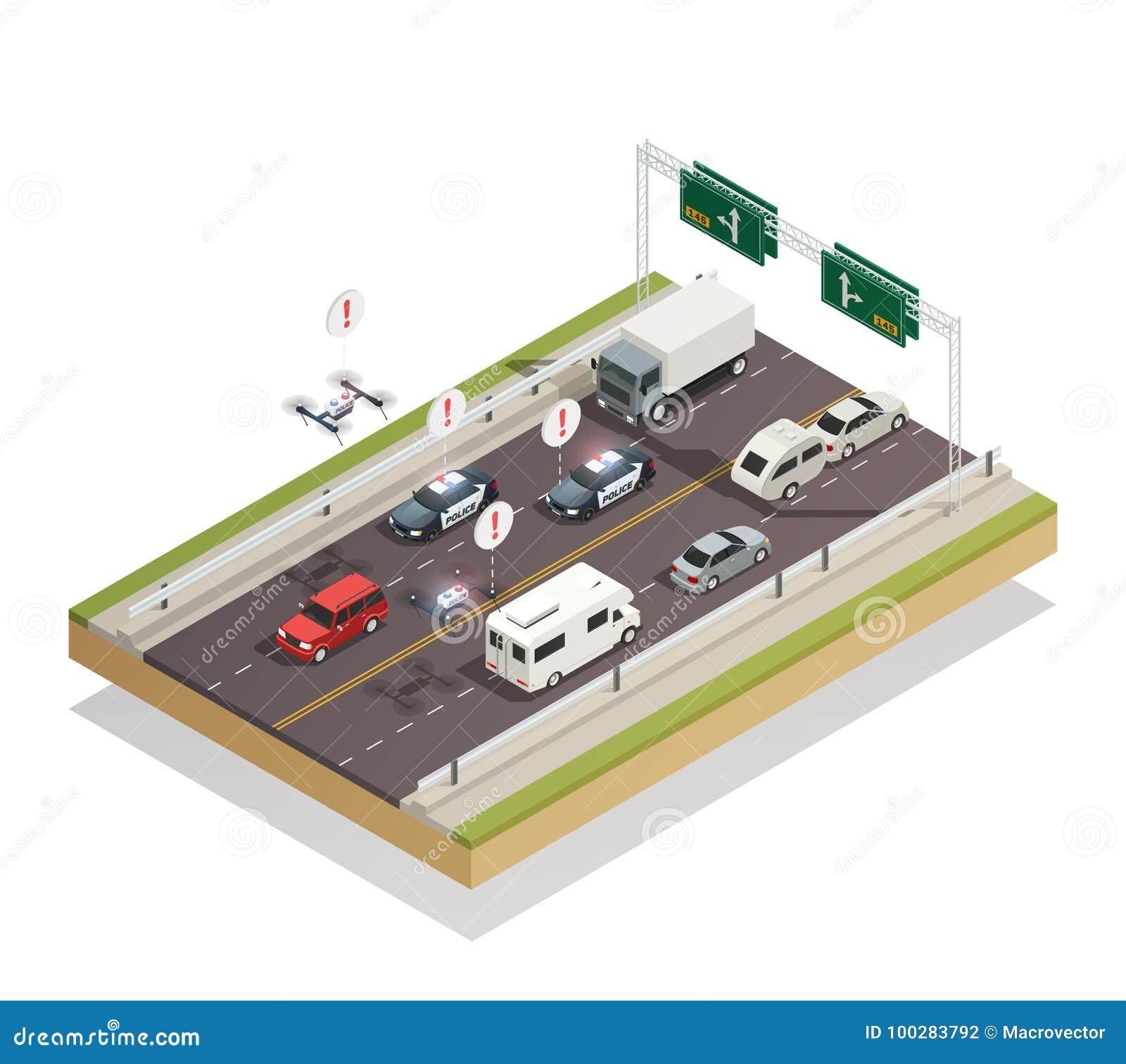 Smart City Traffic Isometric Composition