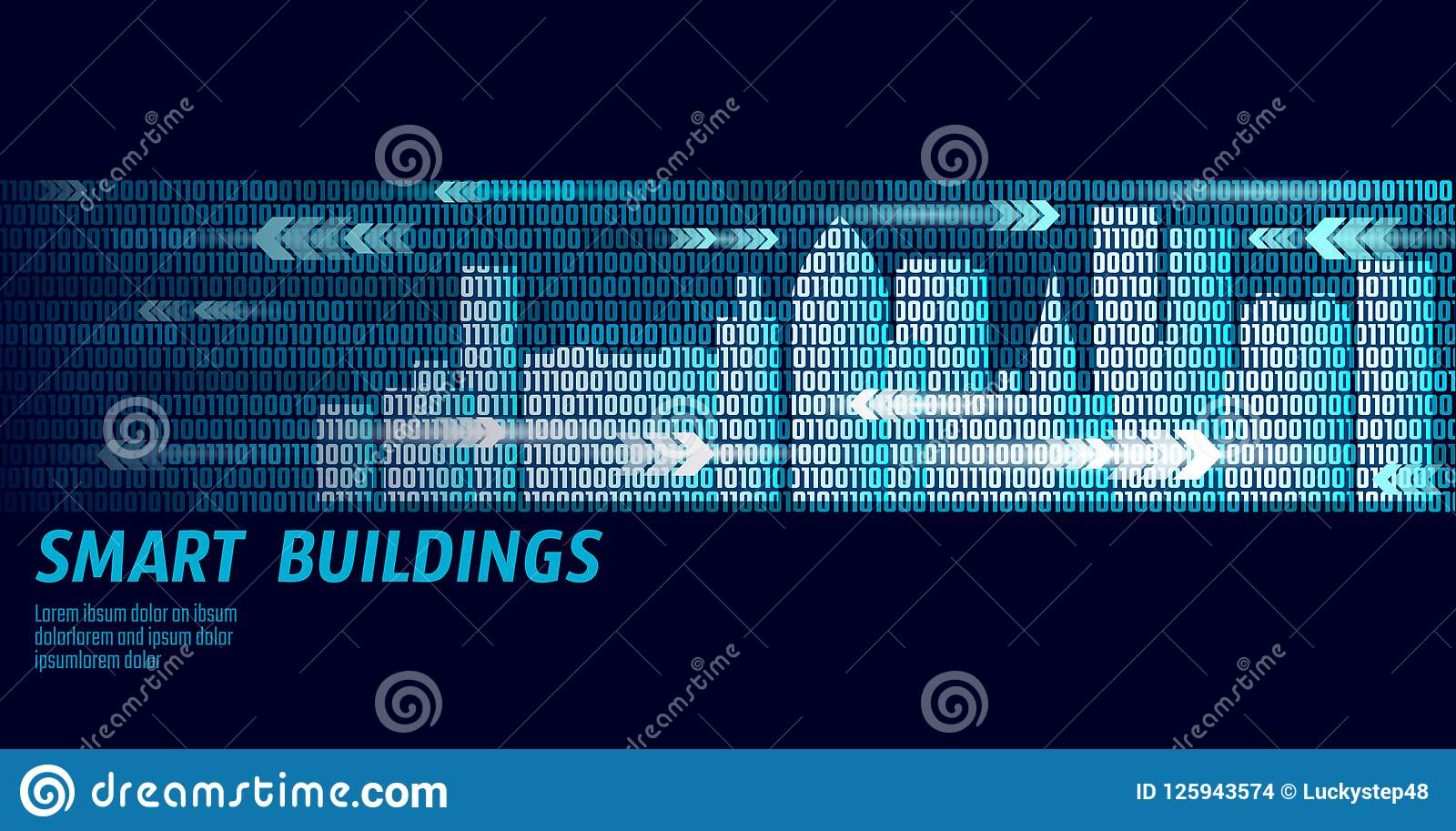 Smart city intelligent building automation system business concept. Binary code number data flow. Architecture urban