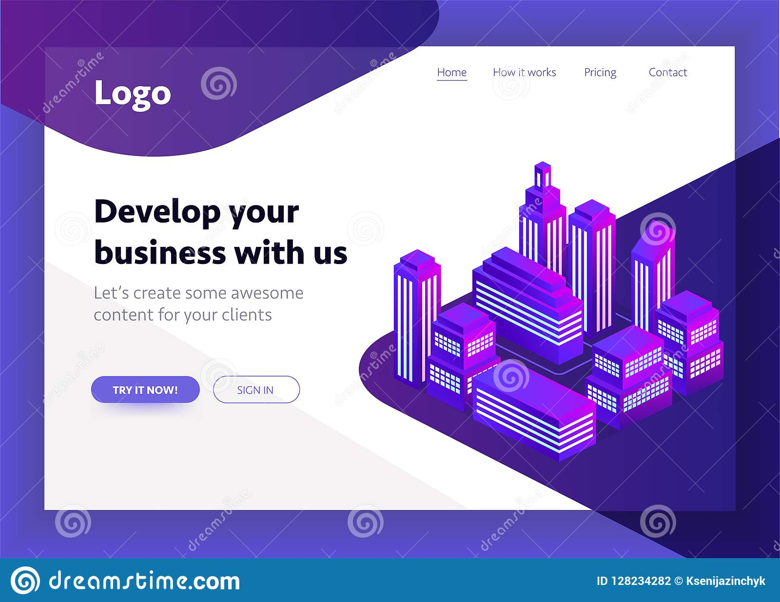 Smart city, intelligent building isometric vector illustration. Blockchain isometric composition for your design