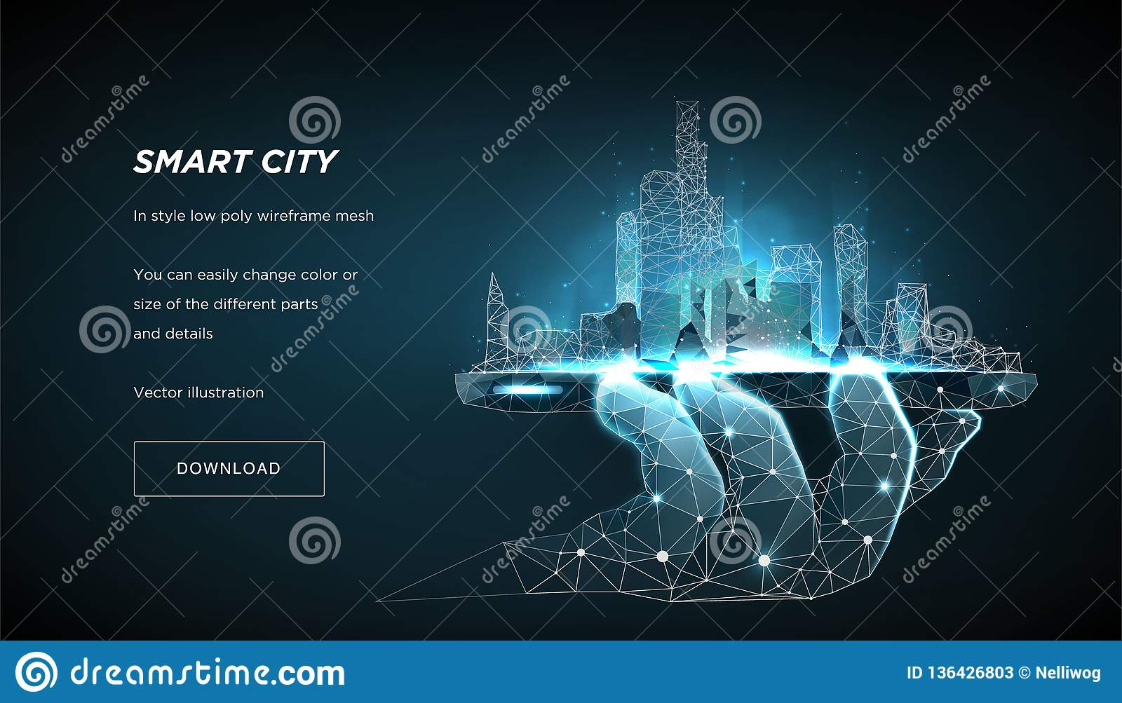 Smart city low poly wireframe. City future abstract or metropolis. Concept manage the city from the phone. Vector 3d