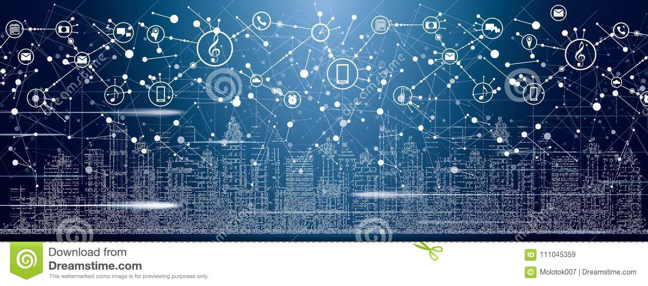 Smart City with Neon Buildings, Networks and Internet of Things