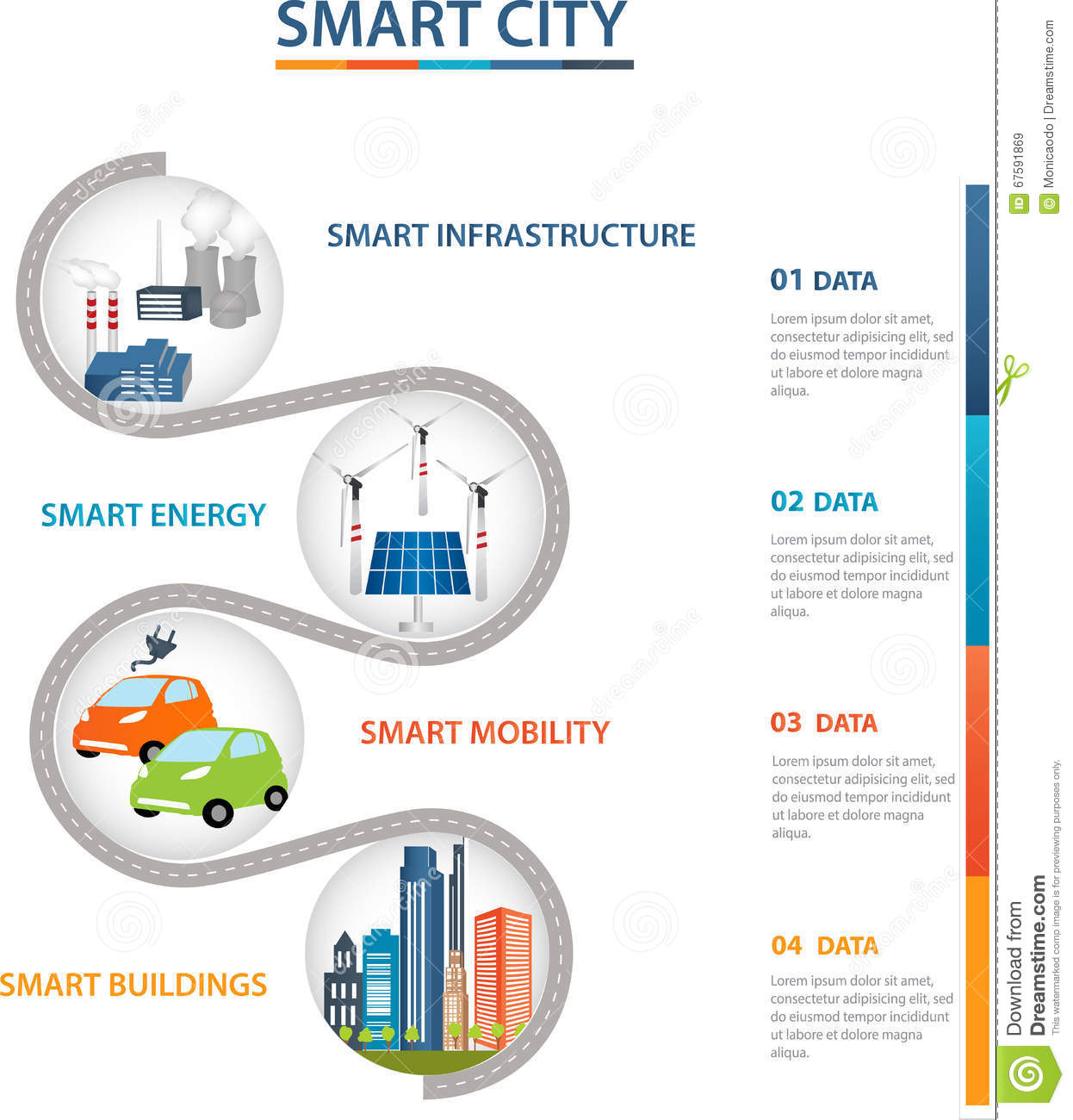 Smart City And Smart Grid Concept Stock Vector Image