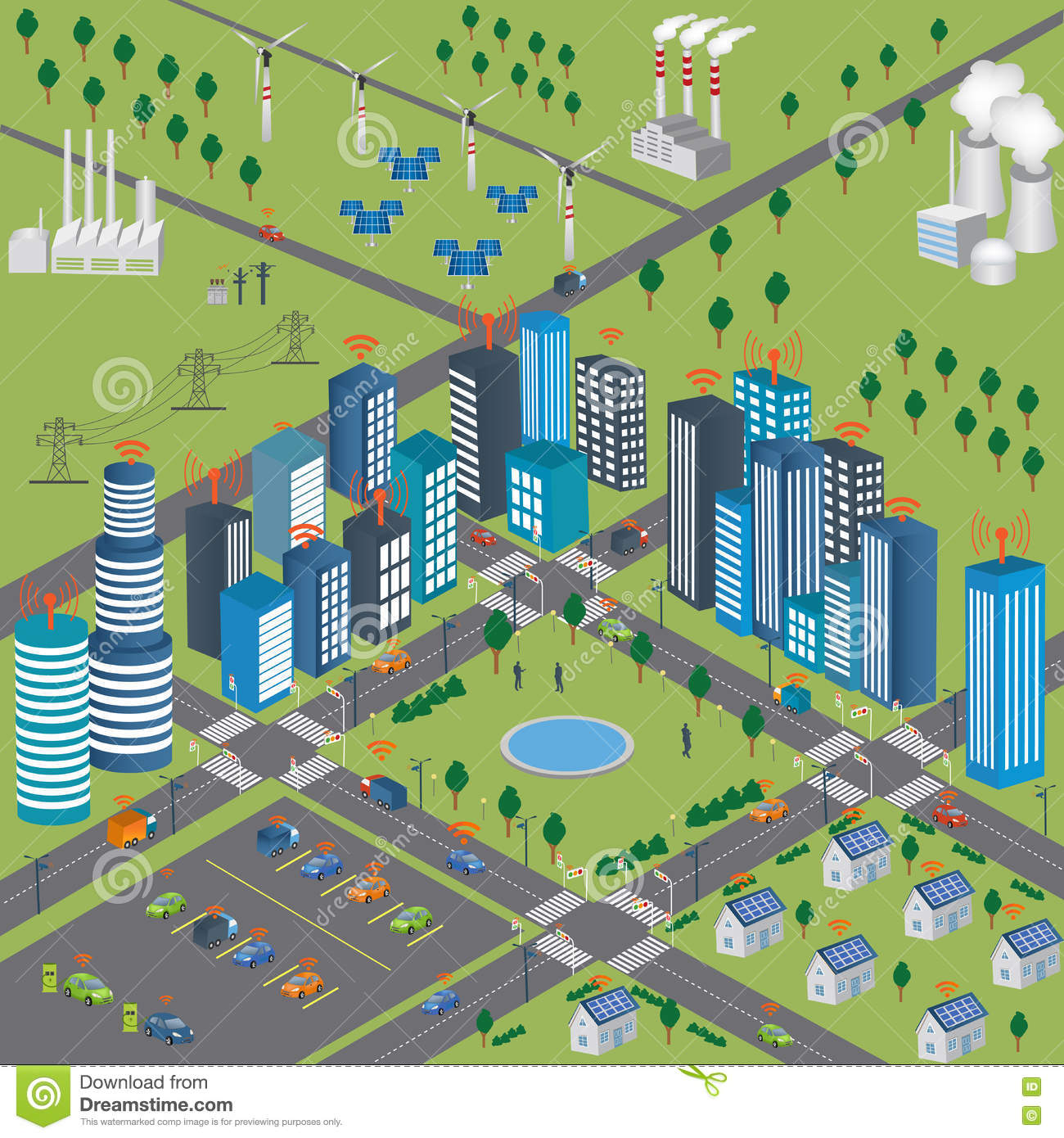Smart City Smart Grid And Wireless Network Of Vehicle