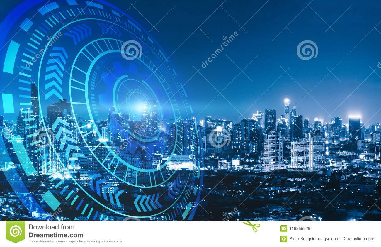 Smart city and technology circles. Graphic design in Bangkok