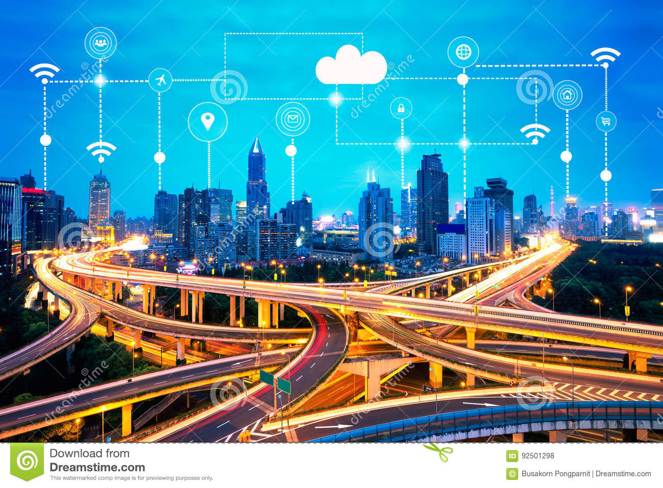 Smart city and technology icons, internet of things, with smart services networks background