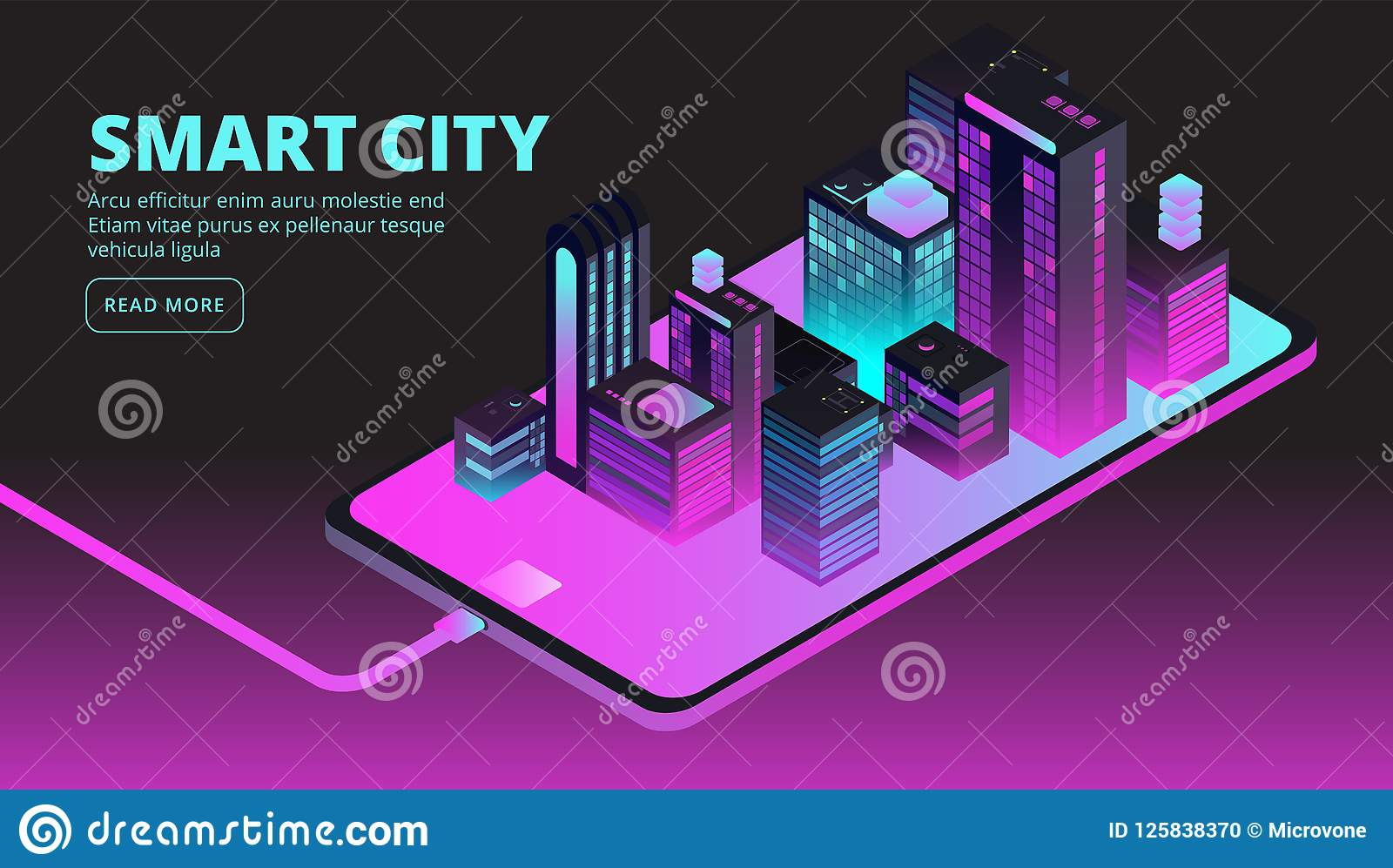 Smart city technology. Intelligent buildings in future city. Isometric 3d vector banner