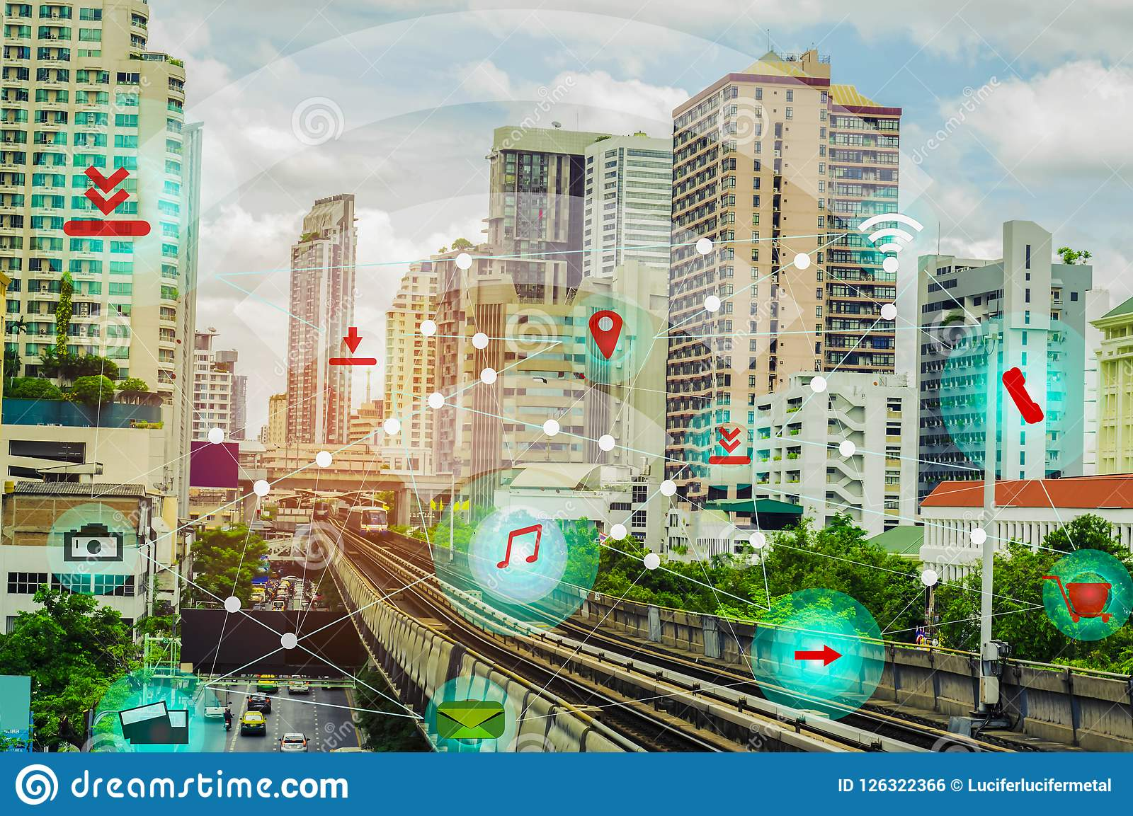 Smart city and wireless communication network concept IOT Internet Of Thing, with the convenience