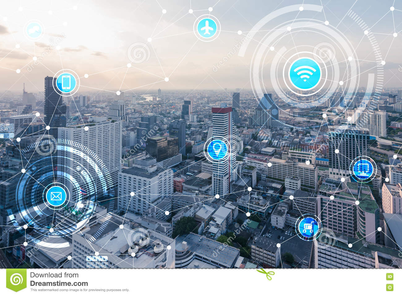 Download Smart City And Wireless Communication Network, IoTInternet Of T Stock Photo - Image of line, phone: 81062976