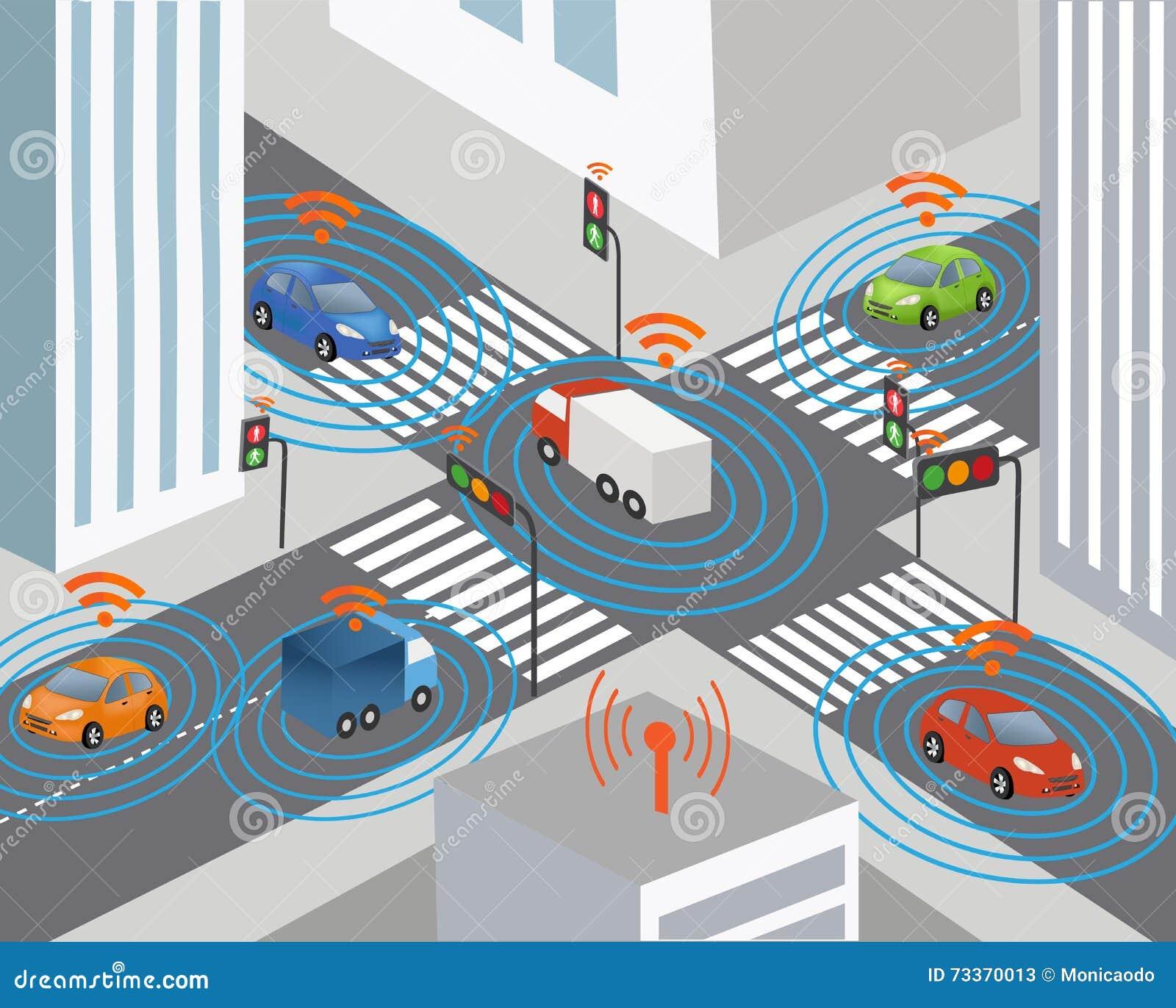 Smart City Wireless Network Vehicle Stock Illustrations