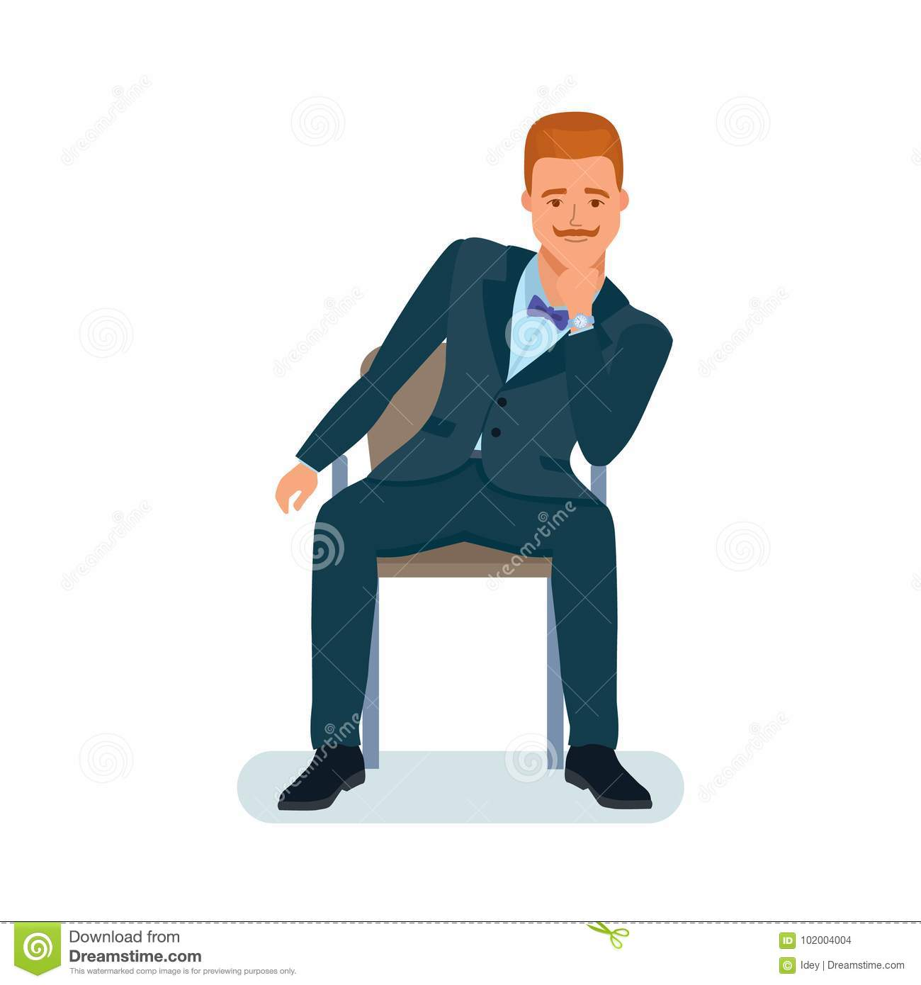 Man Sits On Chair Holds Chin With Hand Listens Information Stock