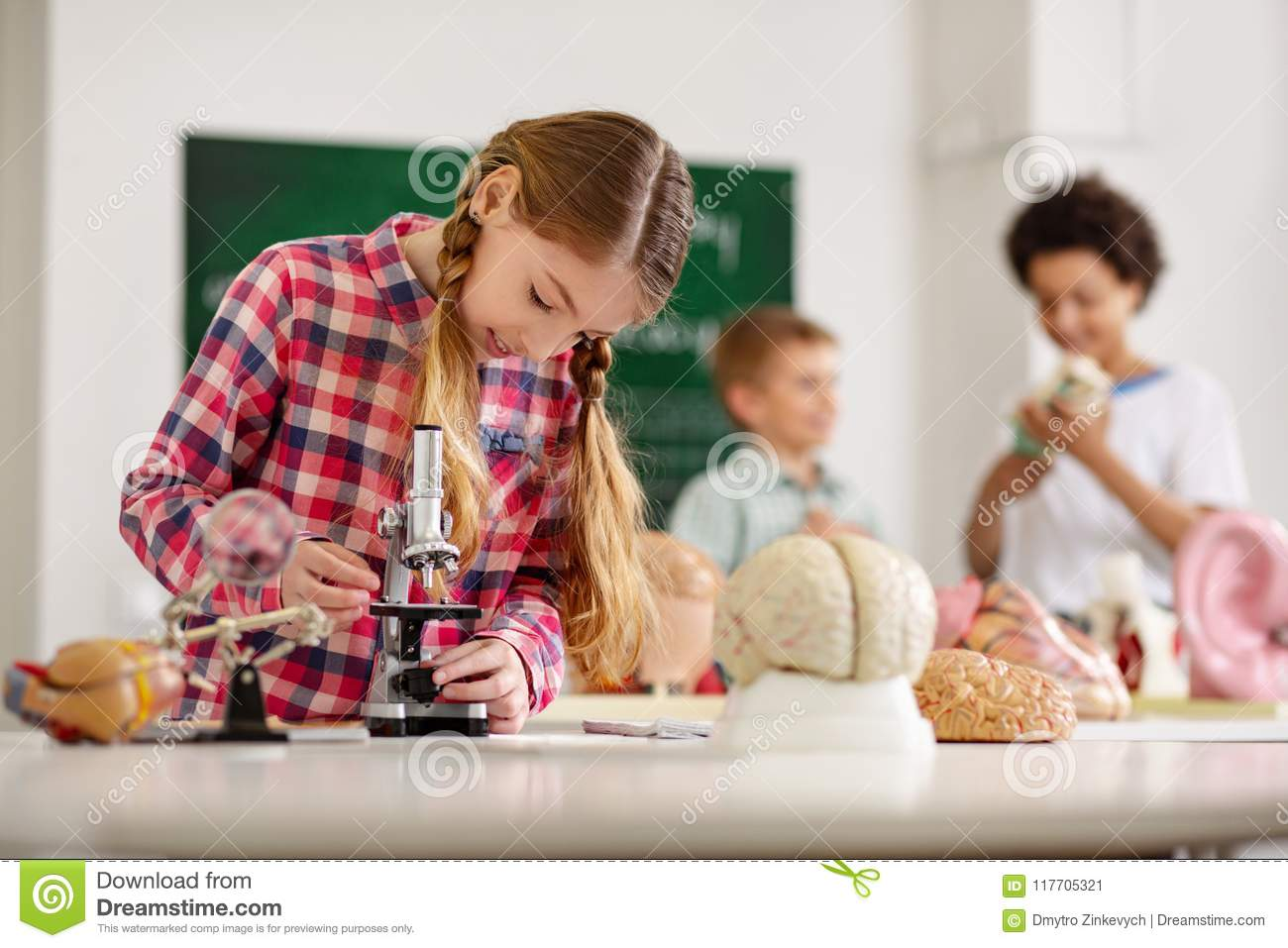 Smart Curious Girl Looking Into The Microscope Stock Image - Image ...