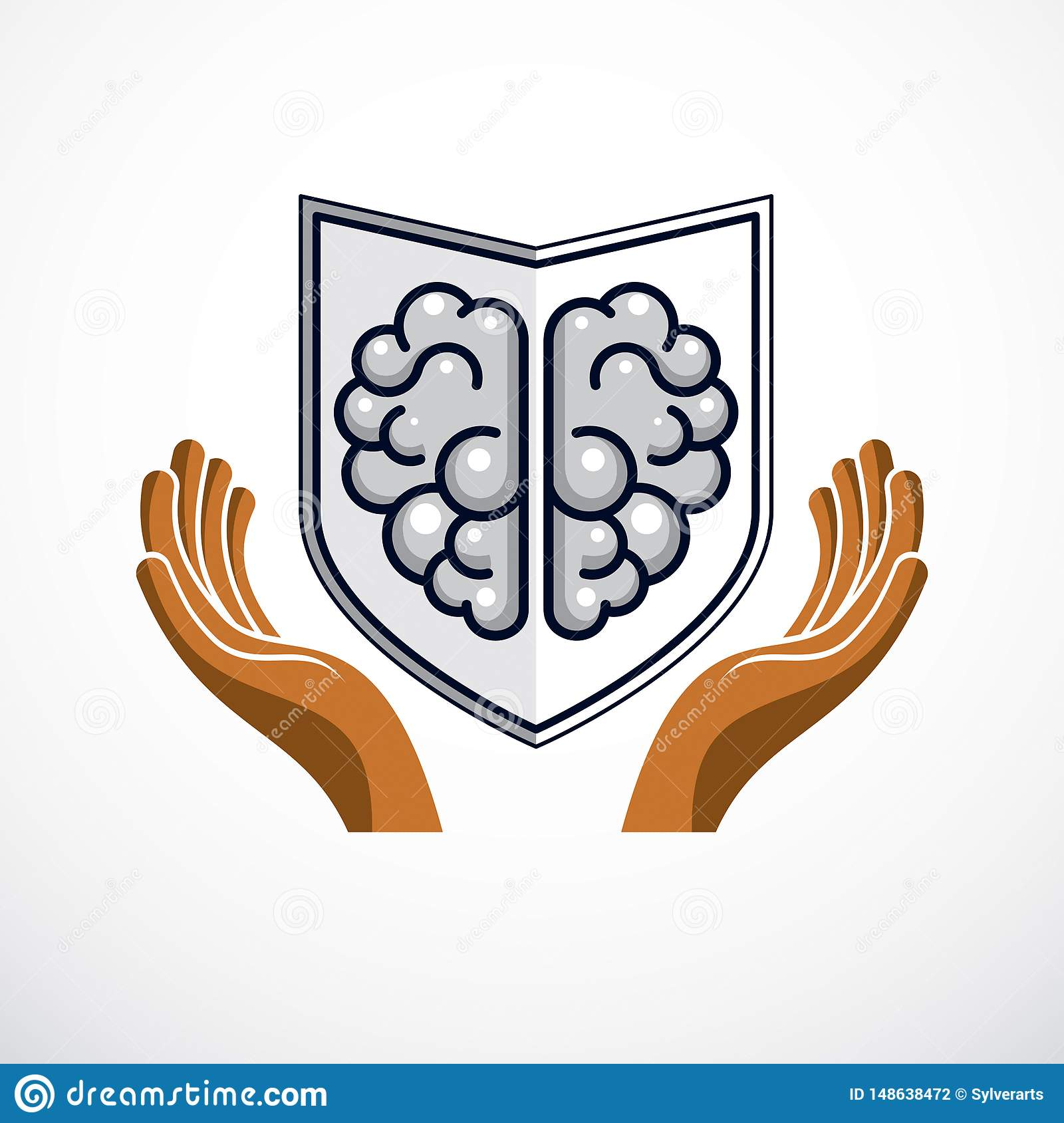 Smart Defense, concept of intelligent software antivirus or firewall. Human anatomical brain composed with guard ammunition shield