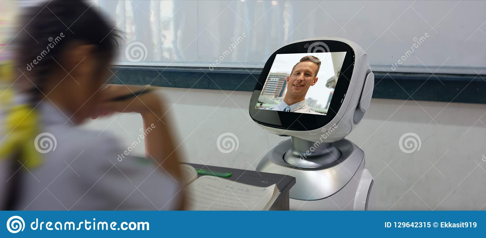 Smart education industry futuristic concept, robotic assistant with artificial intelligence program in future use for teaching stu