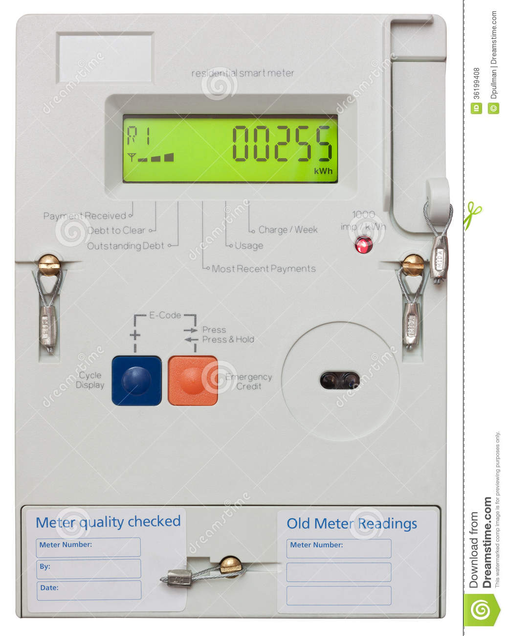 Residential Electricity Monitors : Smart electricity meter stock photo image of interior
