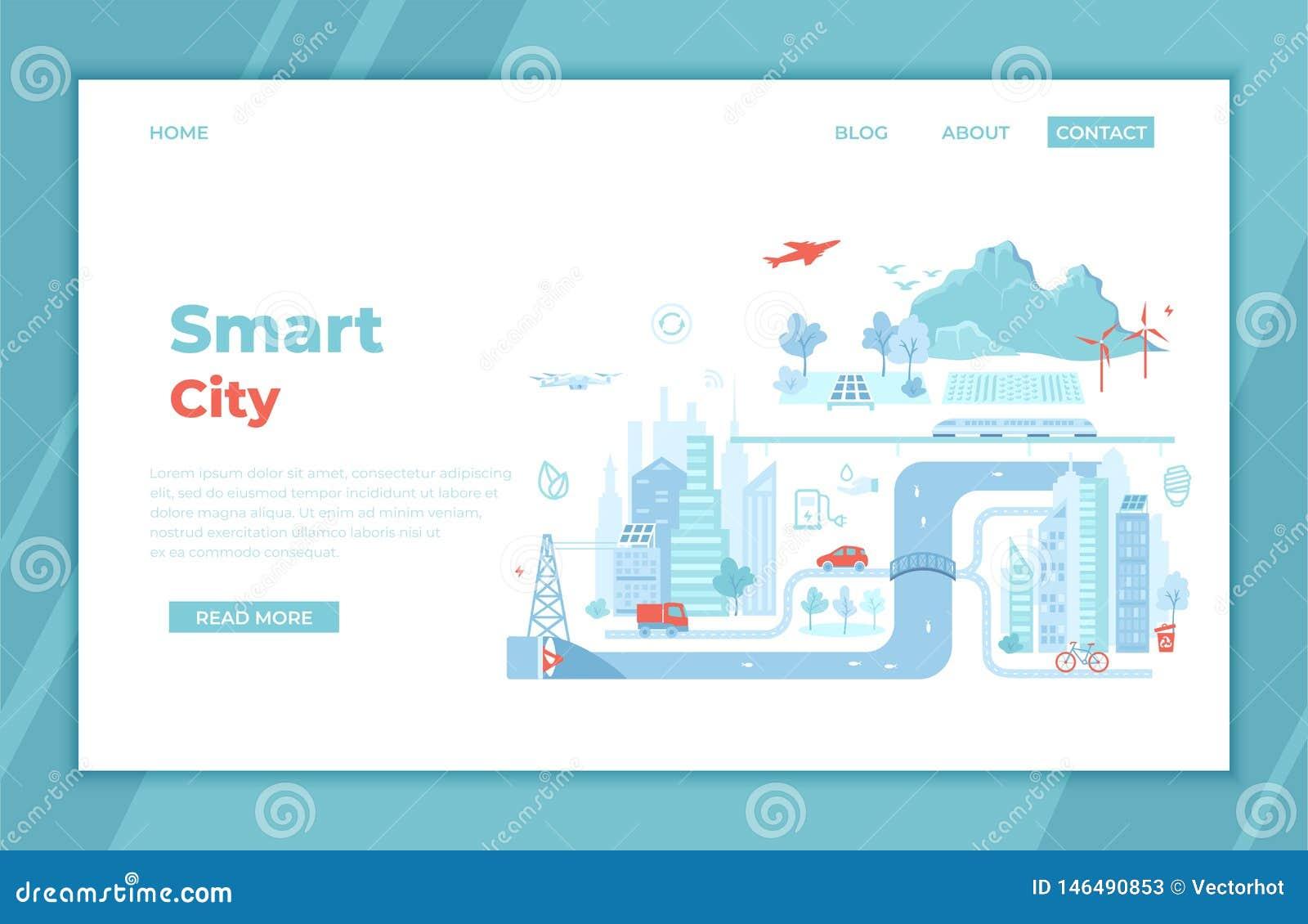 Smart en Green City De elementen van Infographic Infrastructuur, vervoer, de diensten, mededeling, energie, macht Landende Pagina