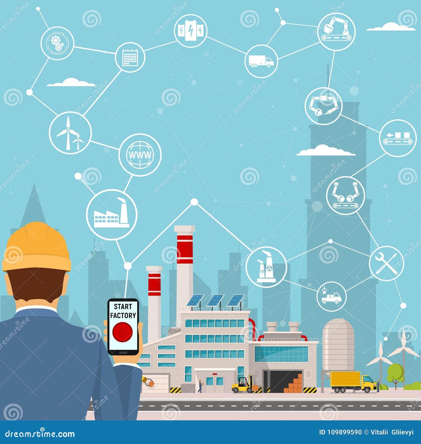 Smart fabrik och runt om den symbolstekniker som startar en smart växt Smart fabrik eller industriell internet av saker