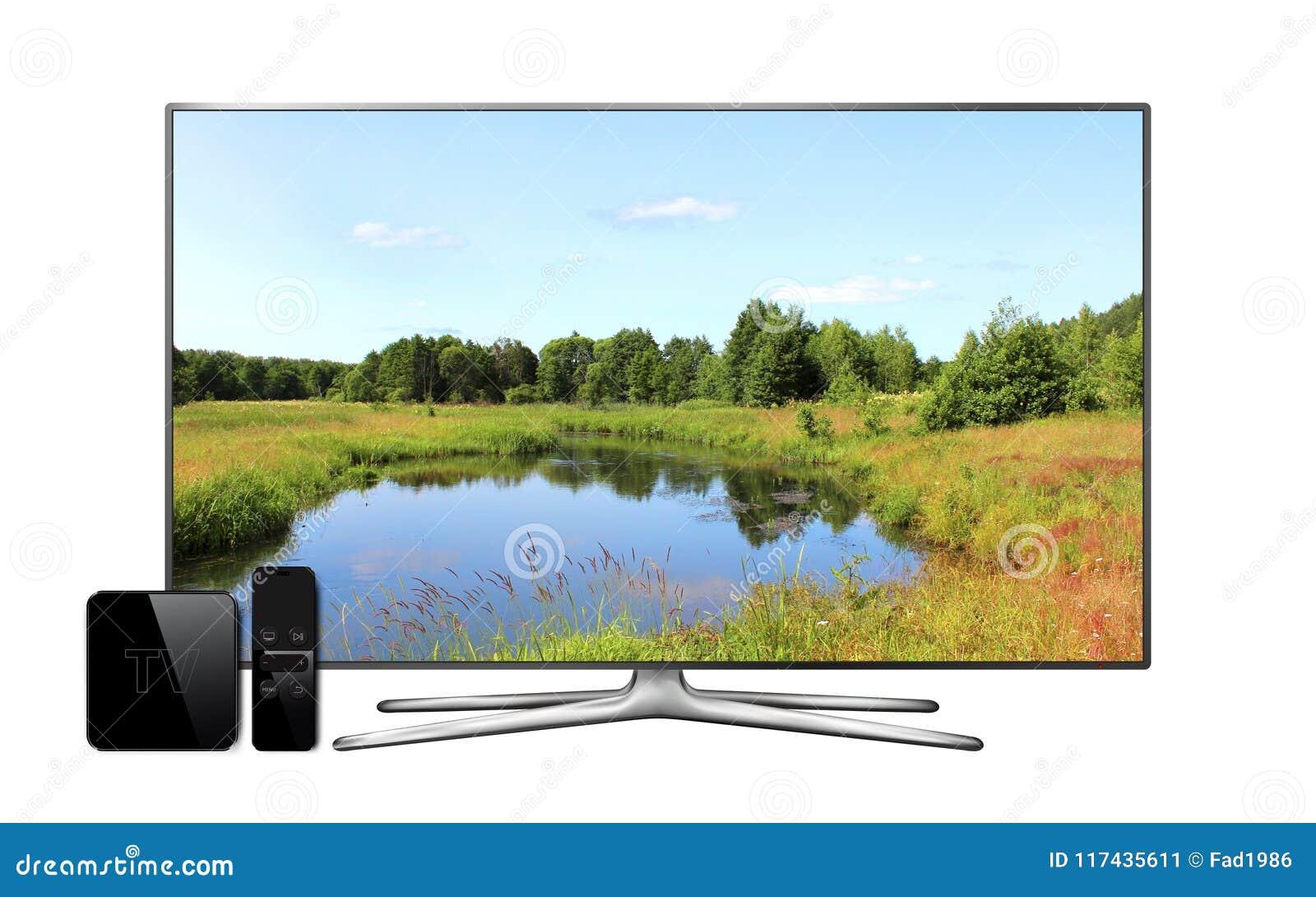Smart-Fernsehen und Multimediakasten mit Fernprüfer und Landschaft tapezieren auf Schirm