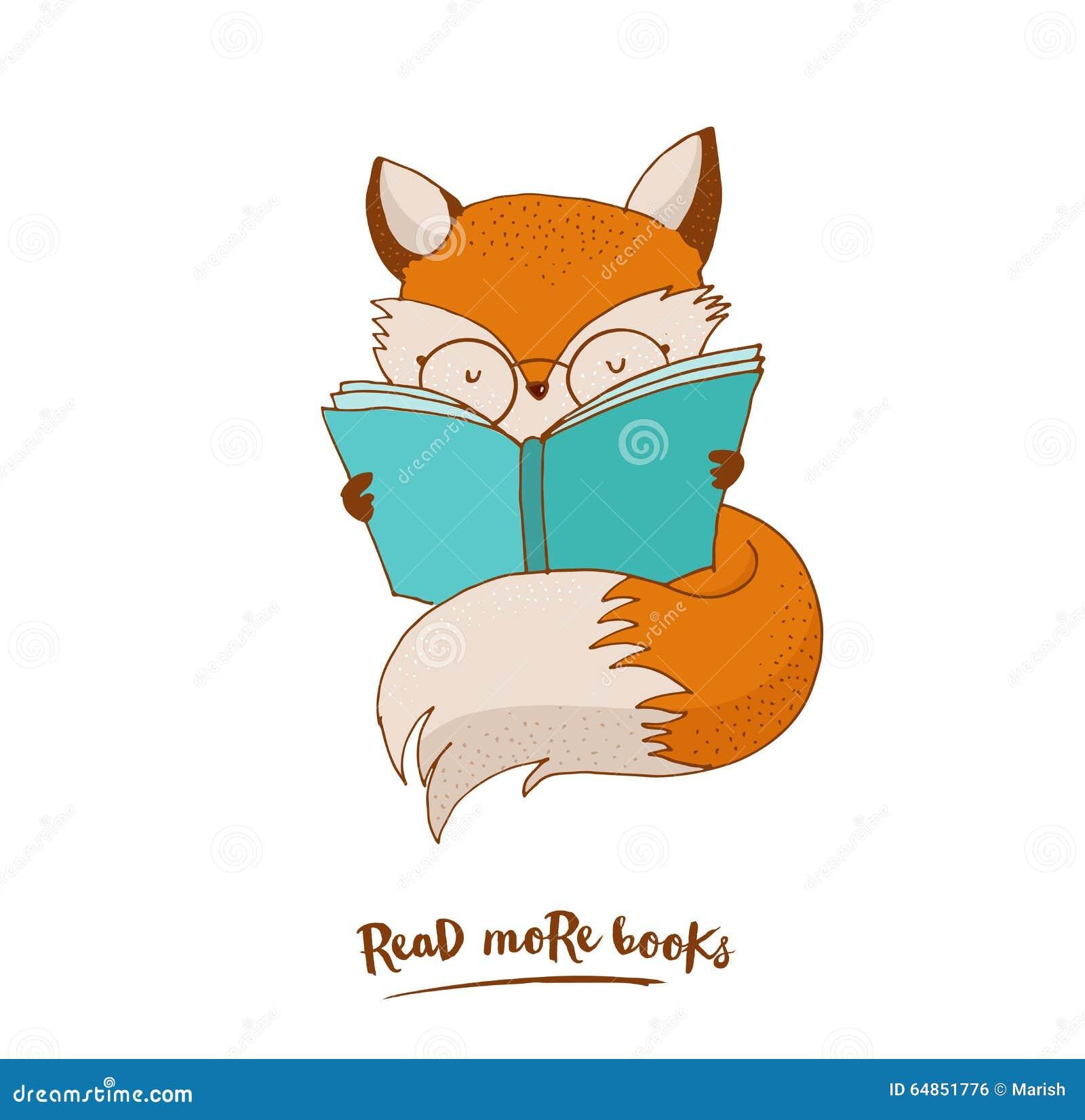 Smart Fox, Reading Book, Greetin Card Stock Vector