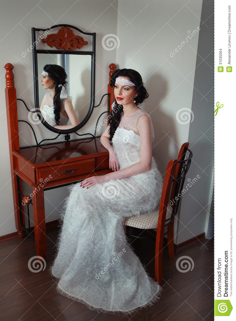 Smart girl at the mirror stock photo. Image of omission ...