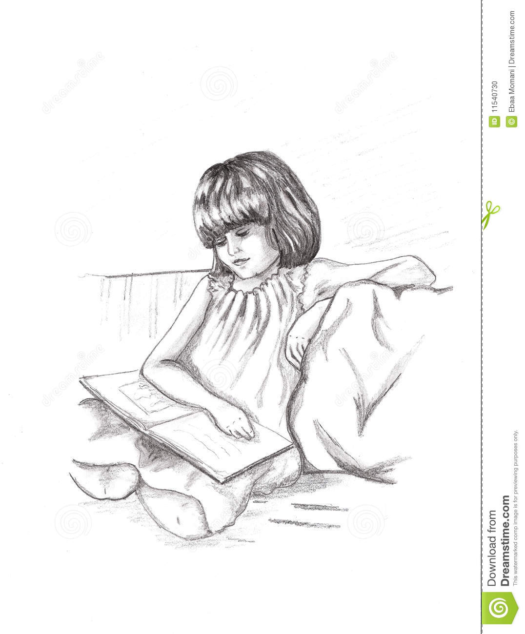Smart Girl Reading Stock Illustration. Illustration Of Story - 11540730