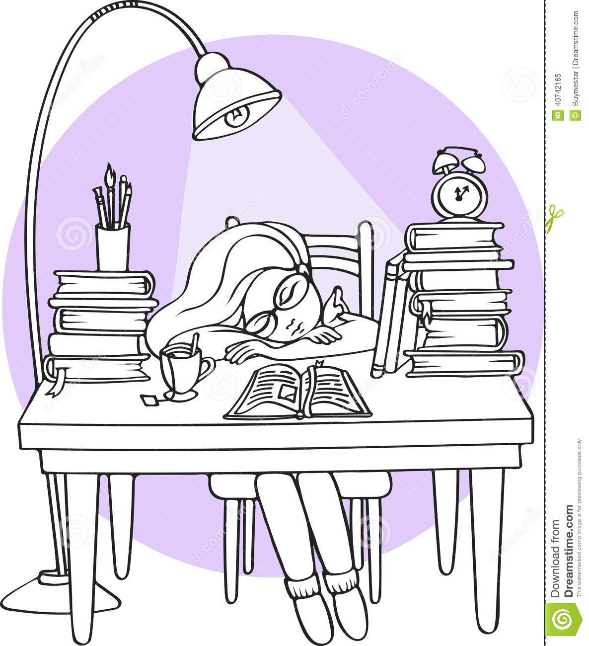 Smart girl studying at night sleeping on the desk with books vector illustration