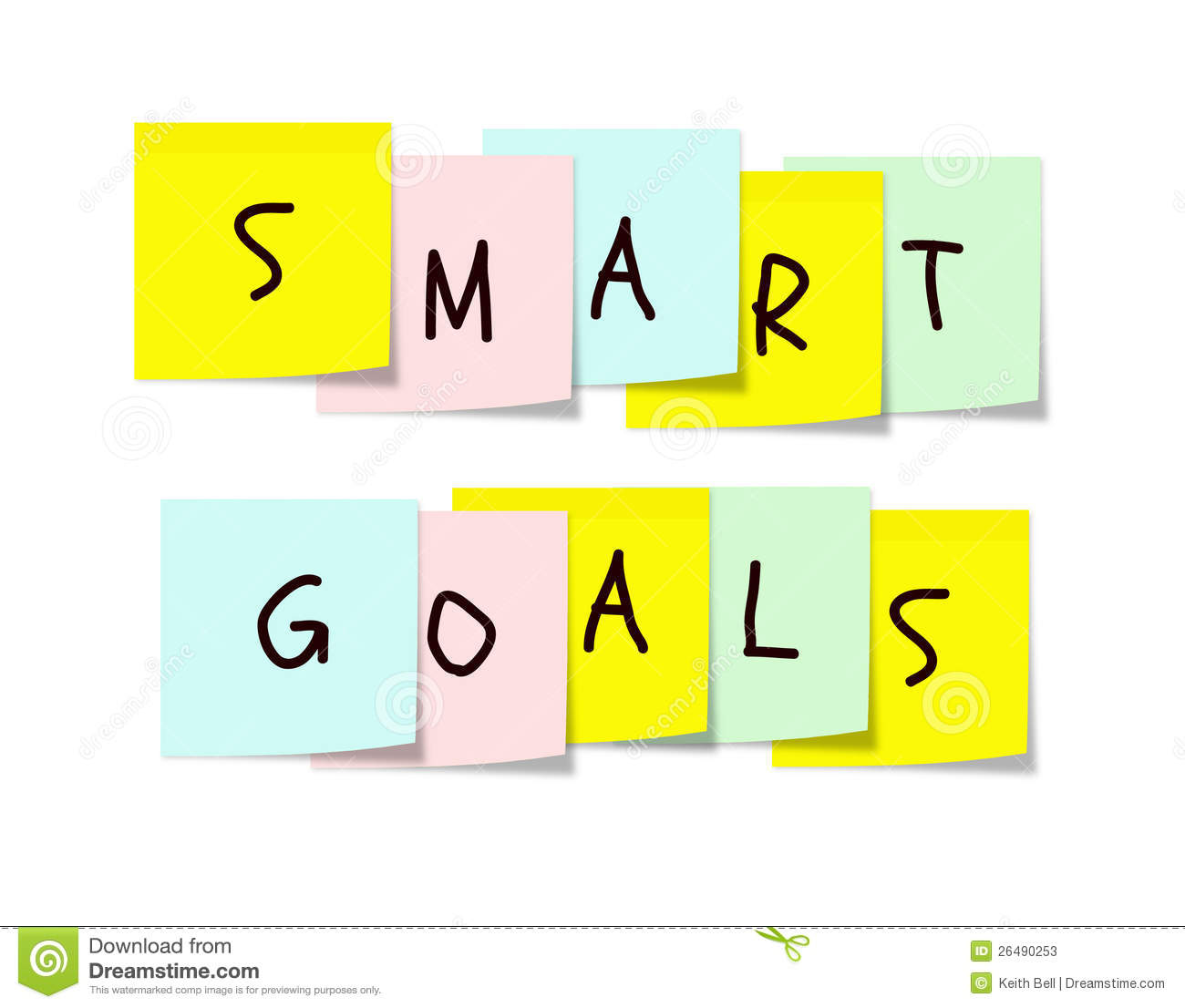 Smart Goals On Colorful Sticky Notes Stock Image